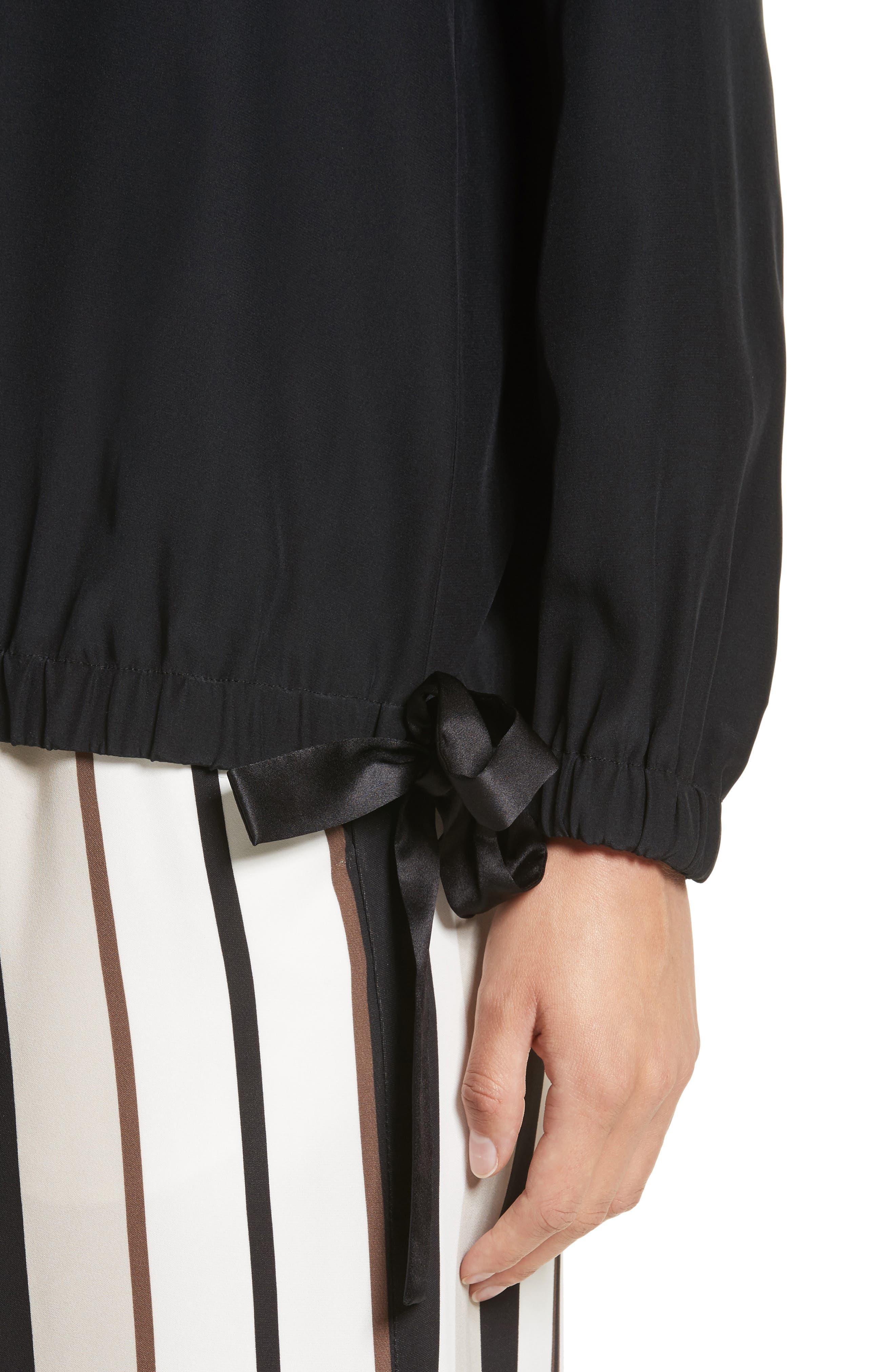 Joan Tie Hem Silk Blouse,                             Alternate thumbnail 4, color,                             001
