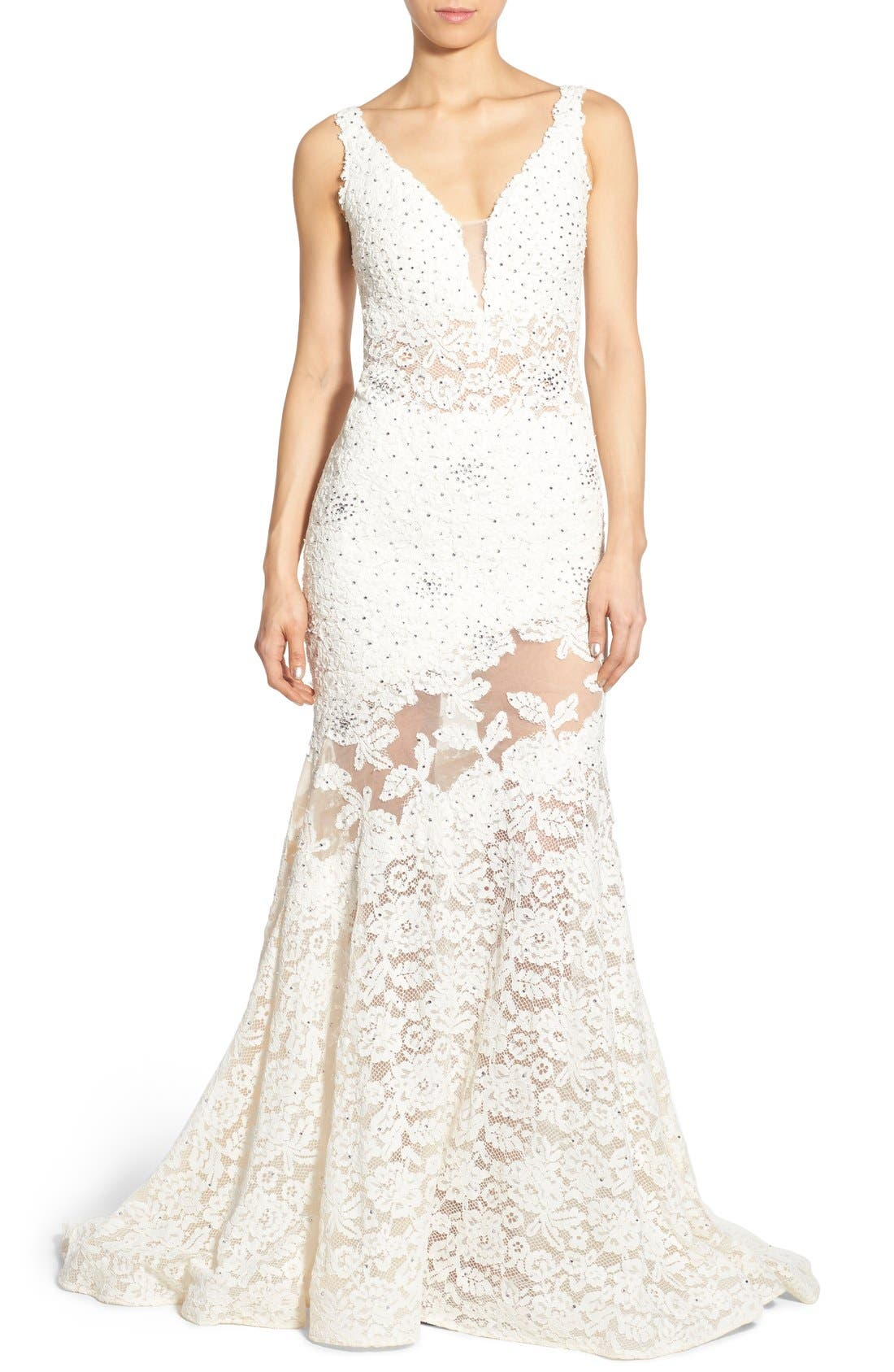 Embellished Lace Mermaid Gown, Main, color, 900