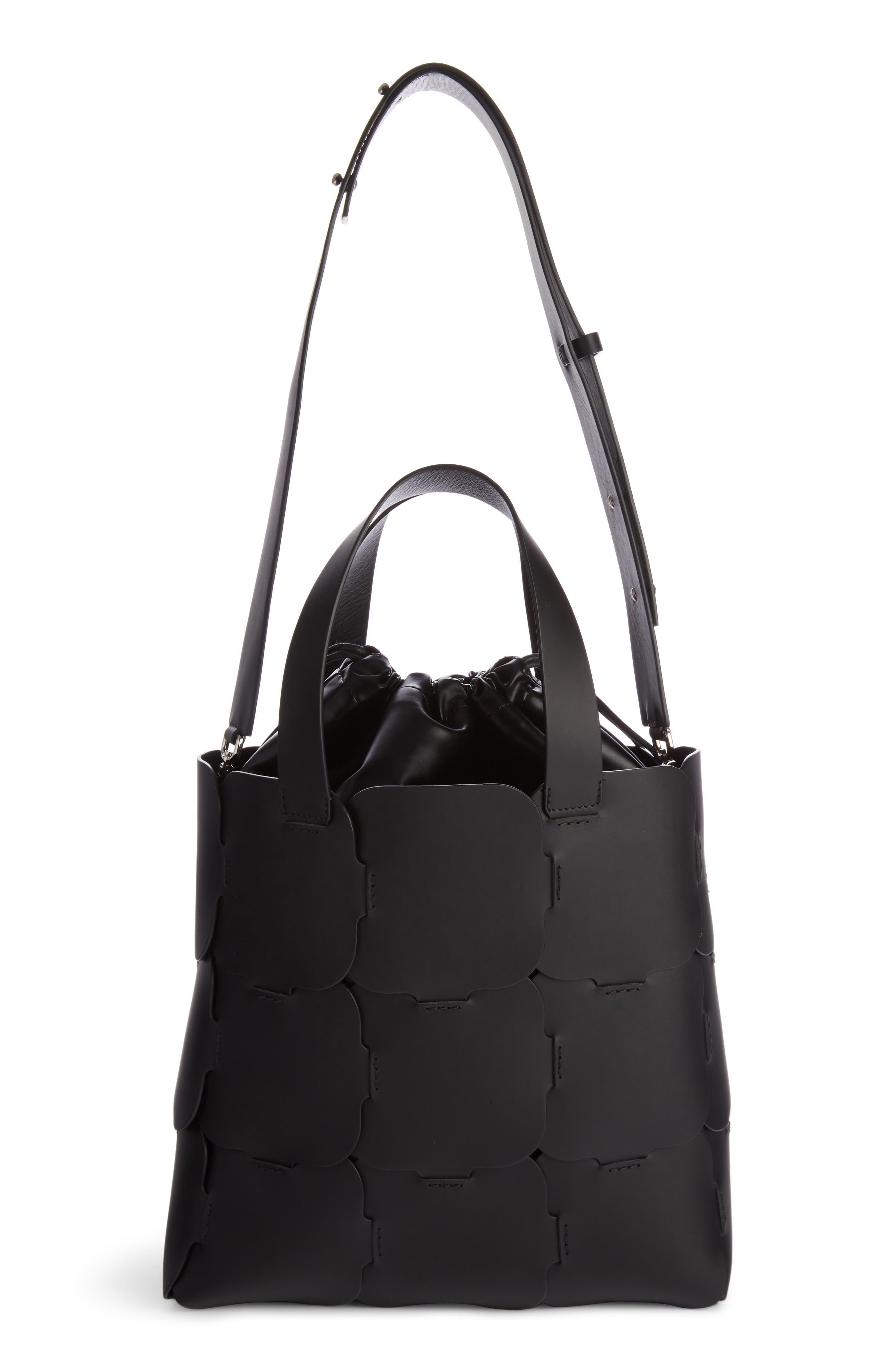 Medium Element Cabas Leather Bucket Bag,                             Main thumbnail 1, color,                             BLACK
