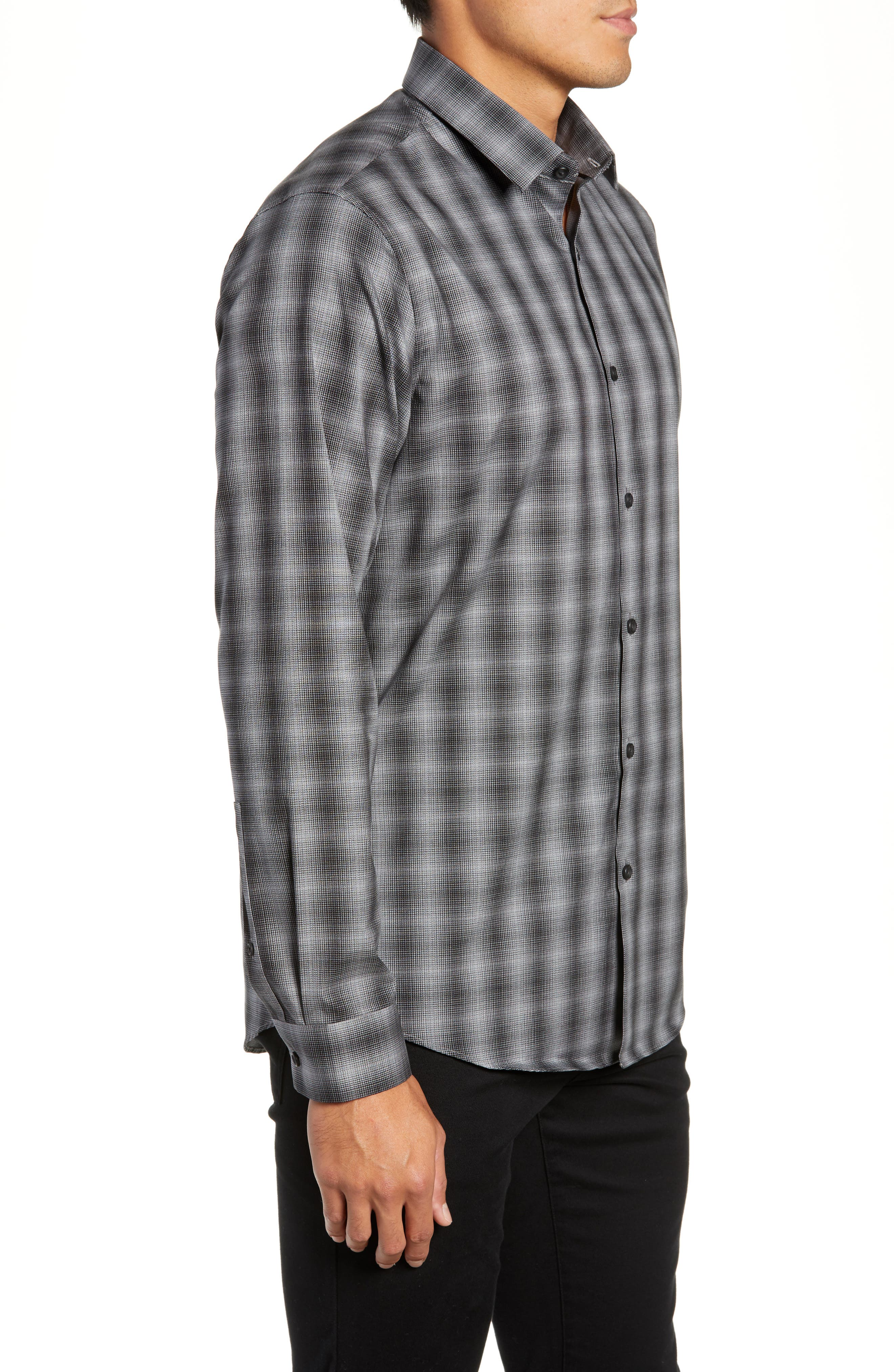 Mini Collar Nep Plaid Sport Shirt,                             Alternate thumbnail 4, color,                             BLACK GREY SHADOW PLAID