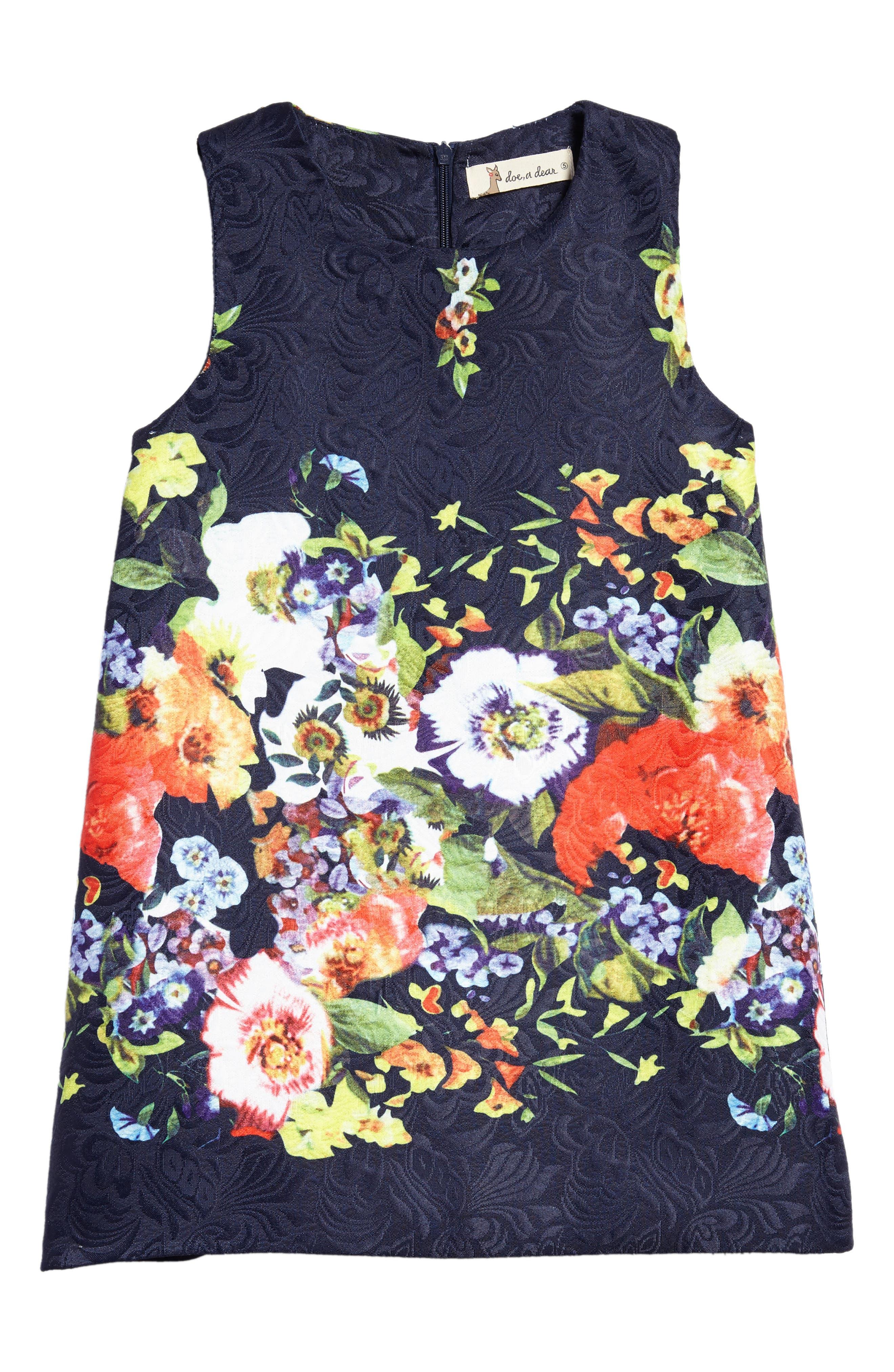 Floral Jacquard Dress,                             Main thumbnail 1, color,                             400