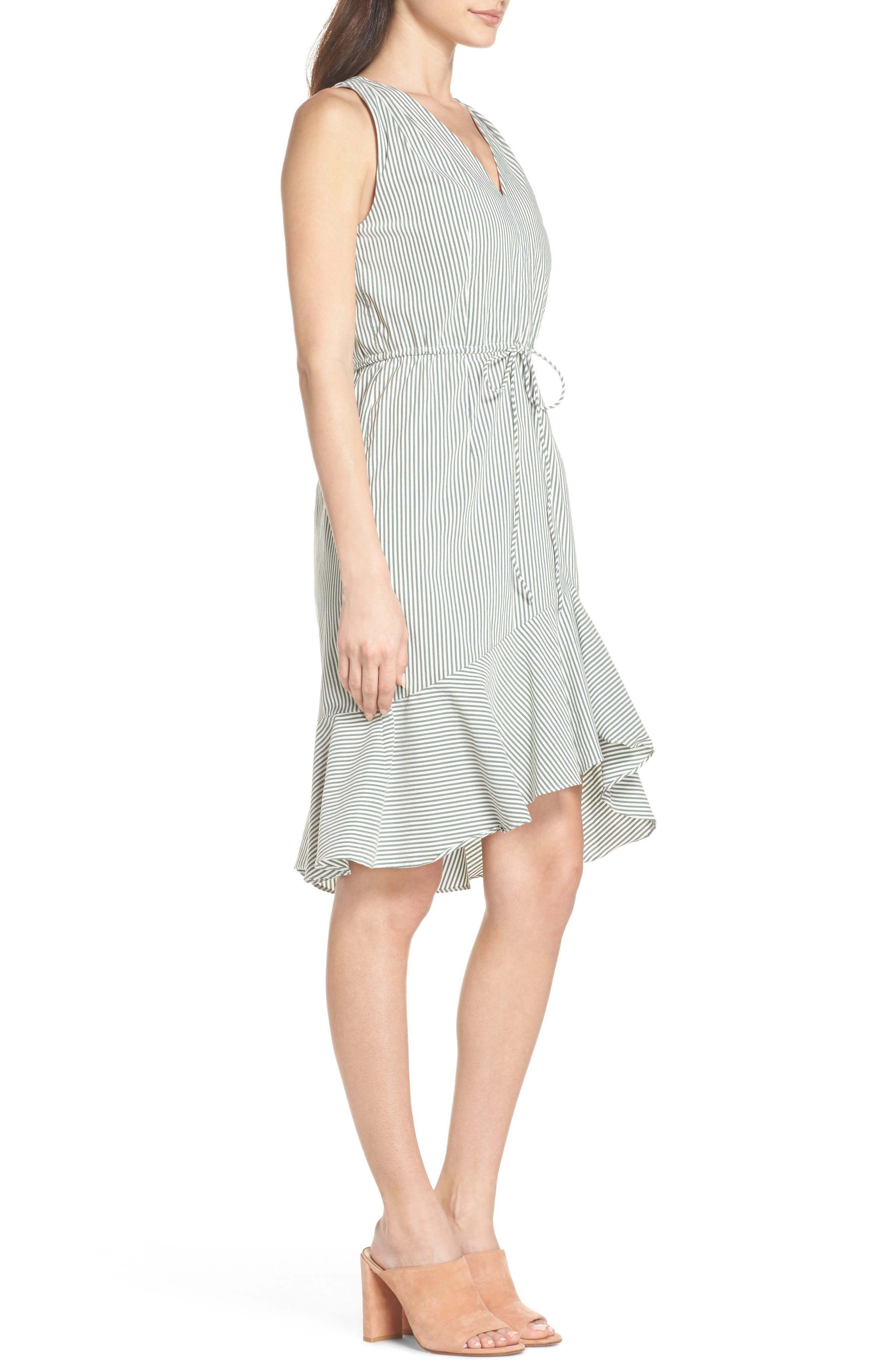 Stripe High/Low Dress,                             Alternate thumbnail 3, color,                             394