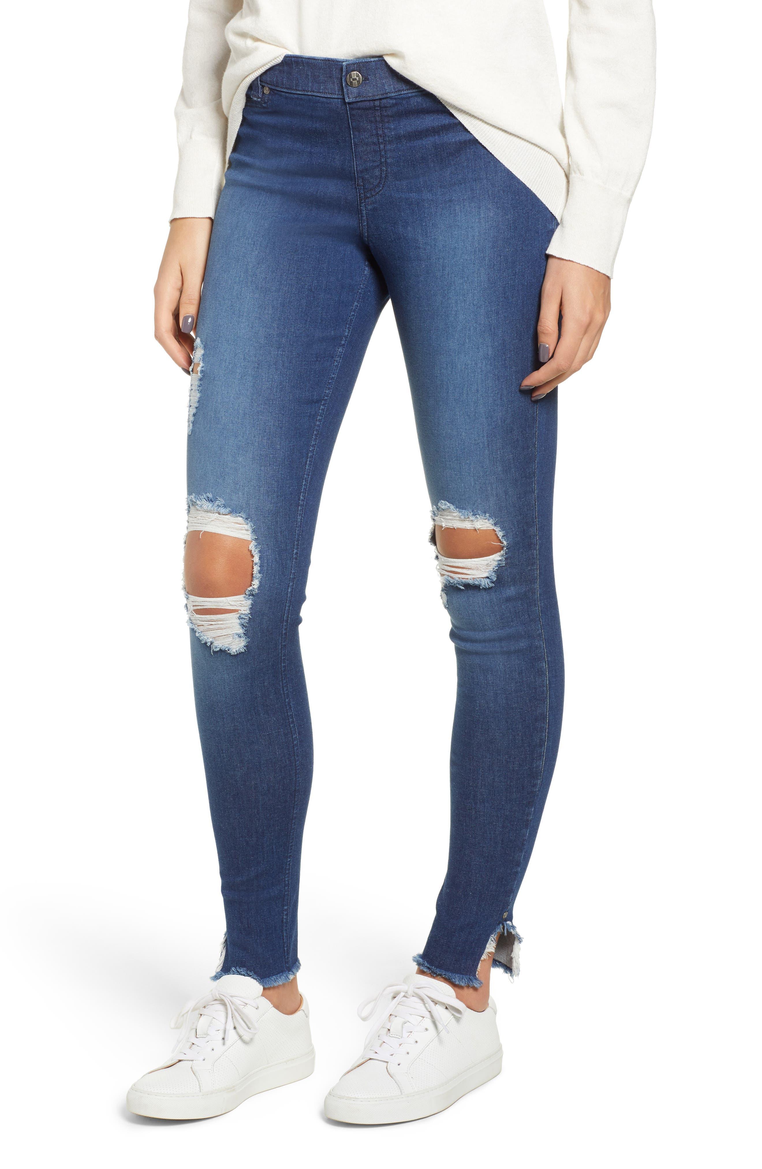 Hue Ripped Ankle Slit Denim Leggings, Blue