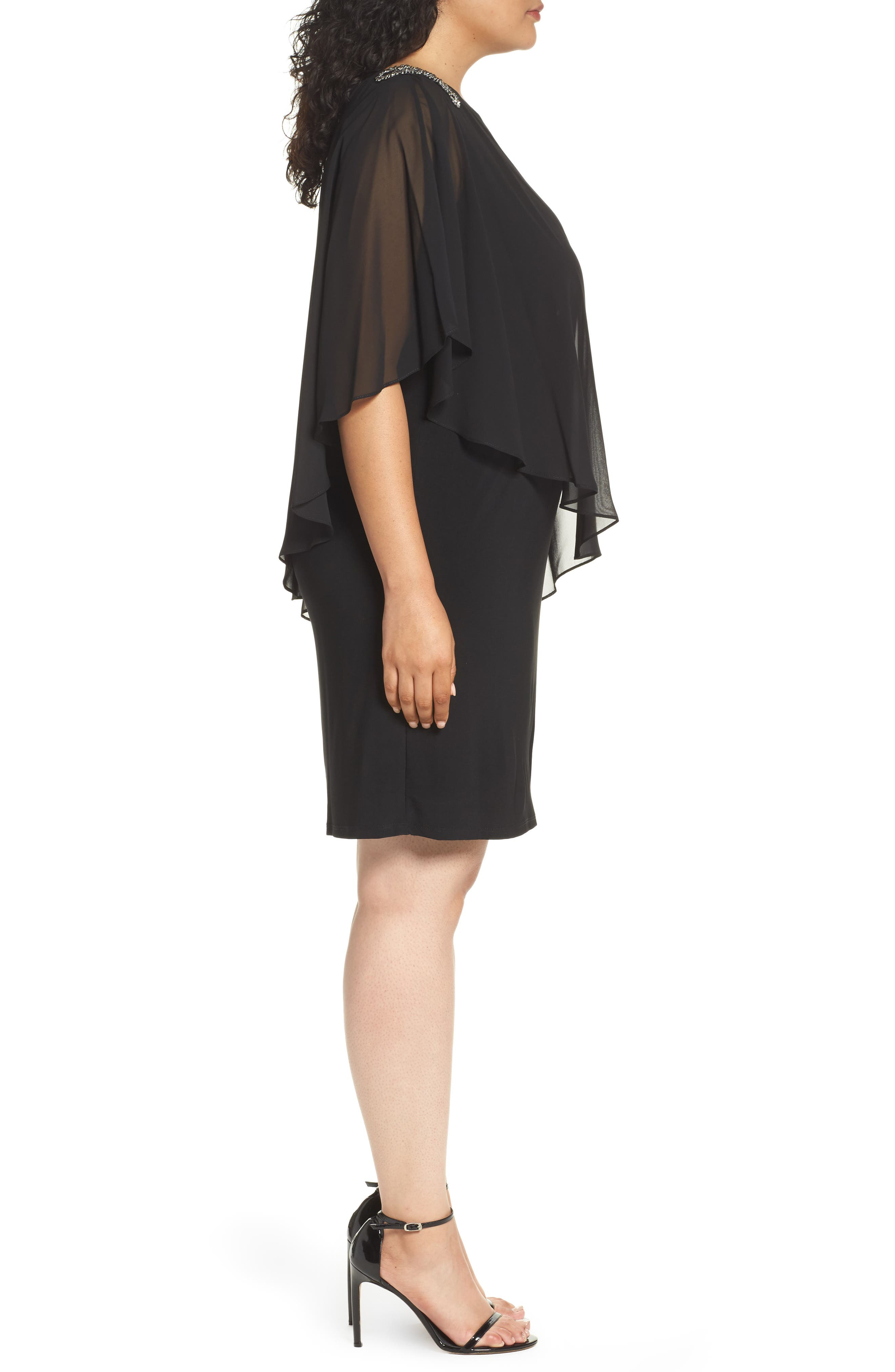 Embellished Chiffon Overlay Jersey Dress,                             Alternate thumbnail 7, color,