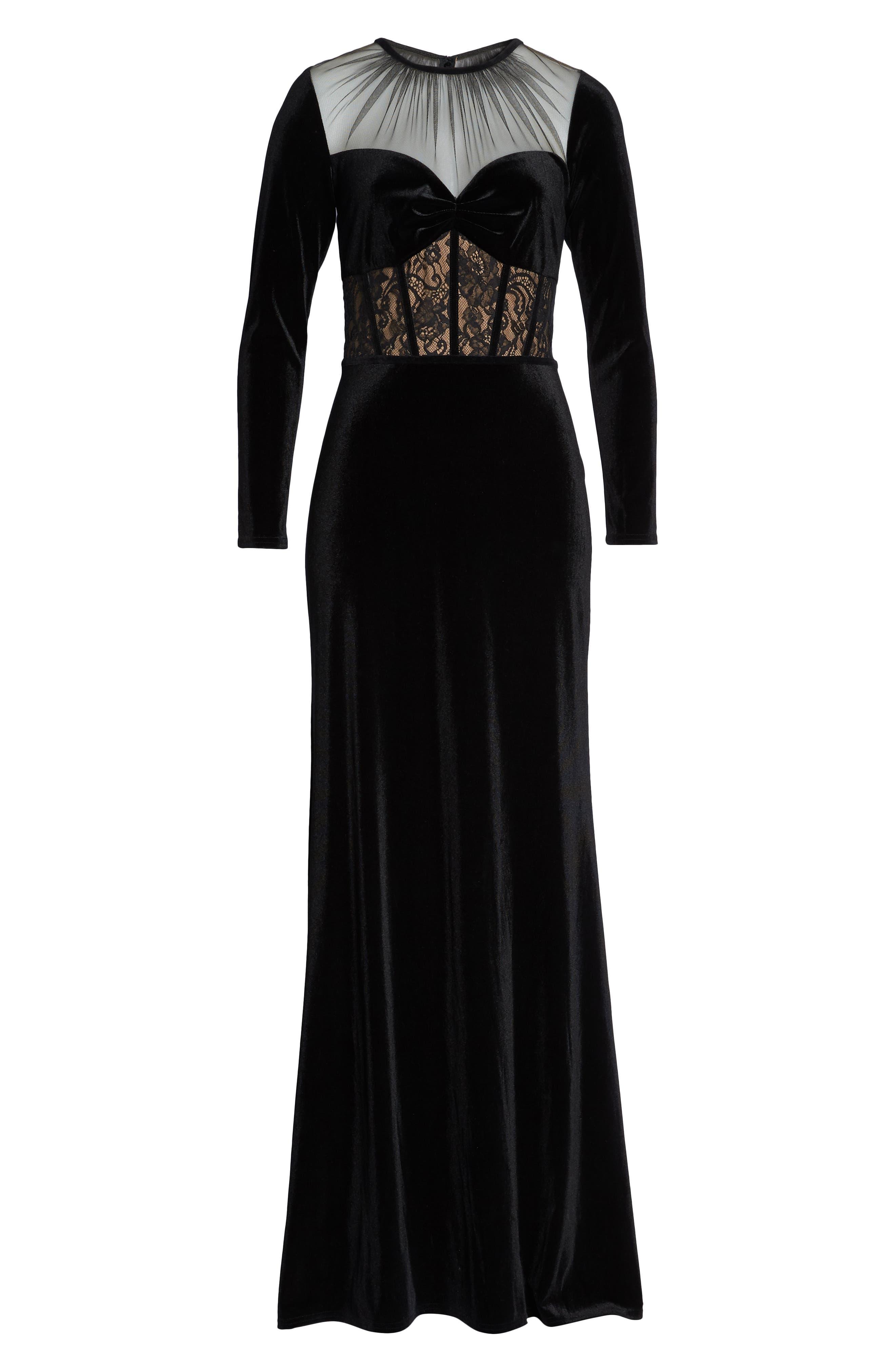Lace & Velvet Gown,                             Alternate thumbnail 7, color,                             BLACK/ NUDE