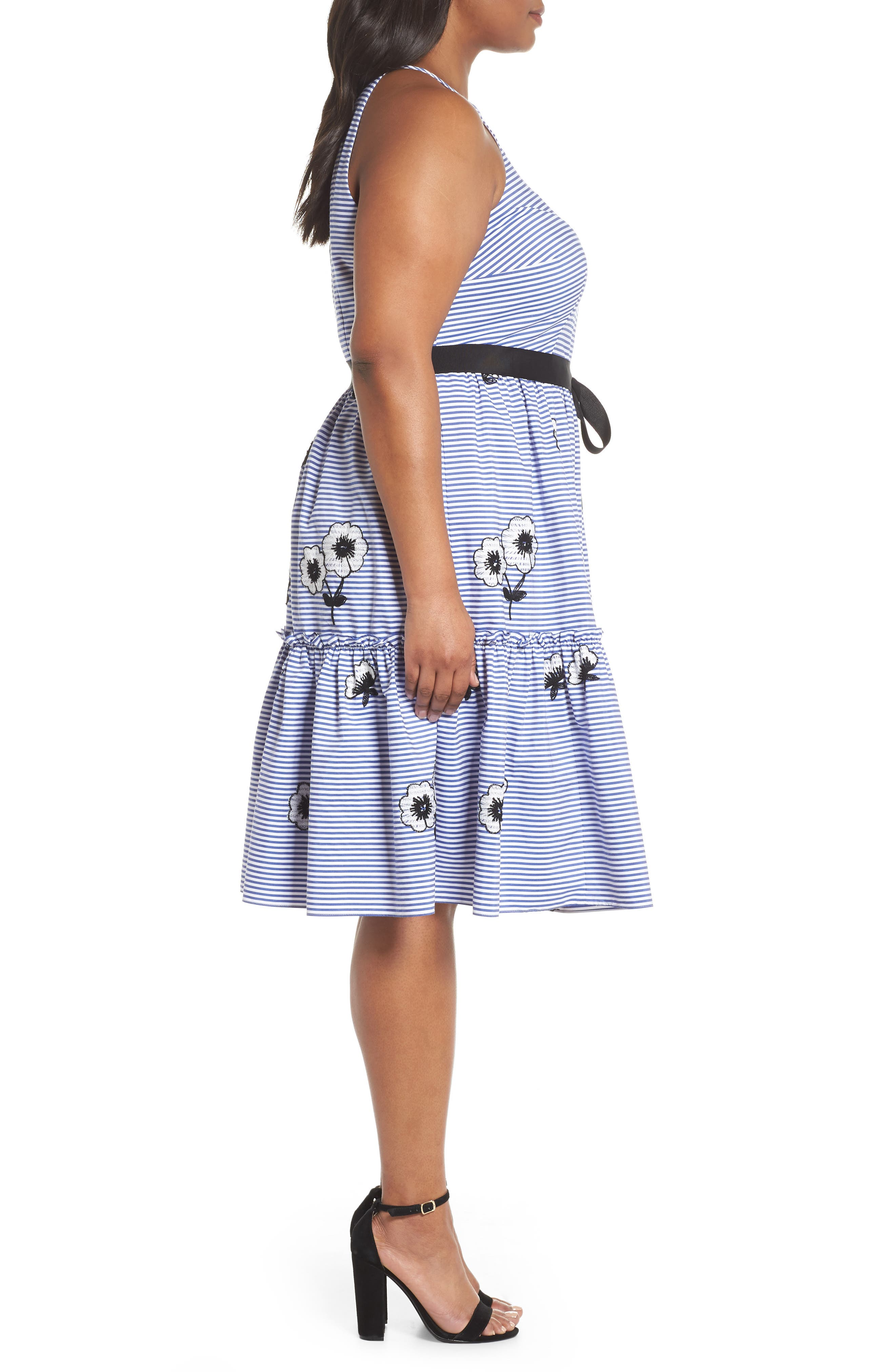 Embroidered Stripe Fit & Flare Dress,                             Alternate thumbnail 3, color,