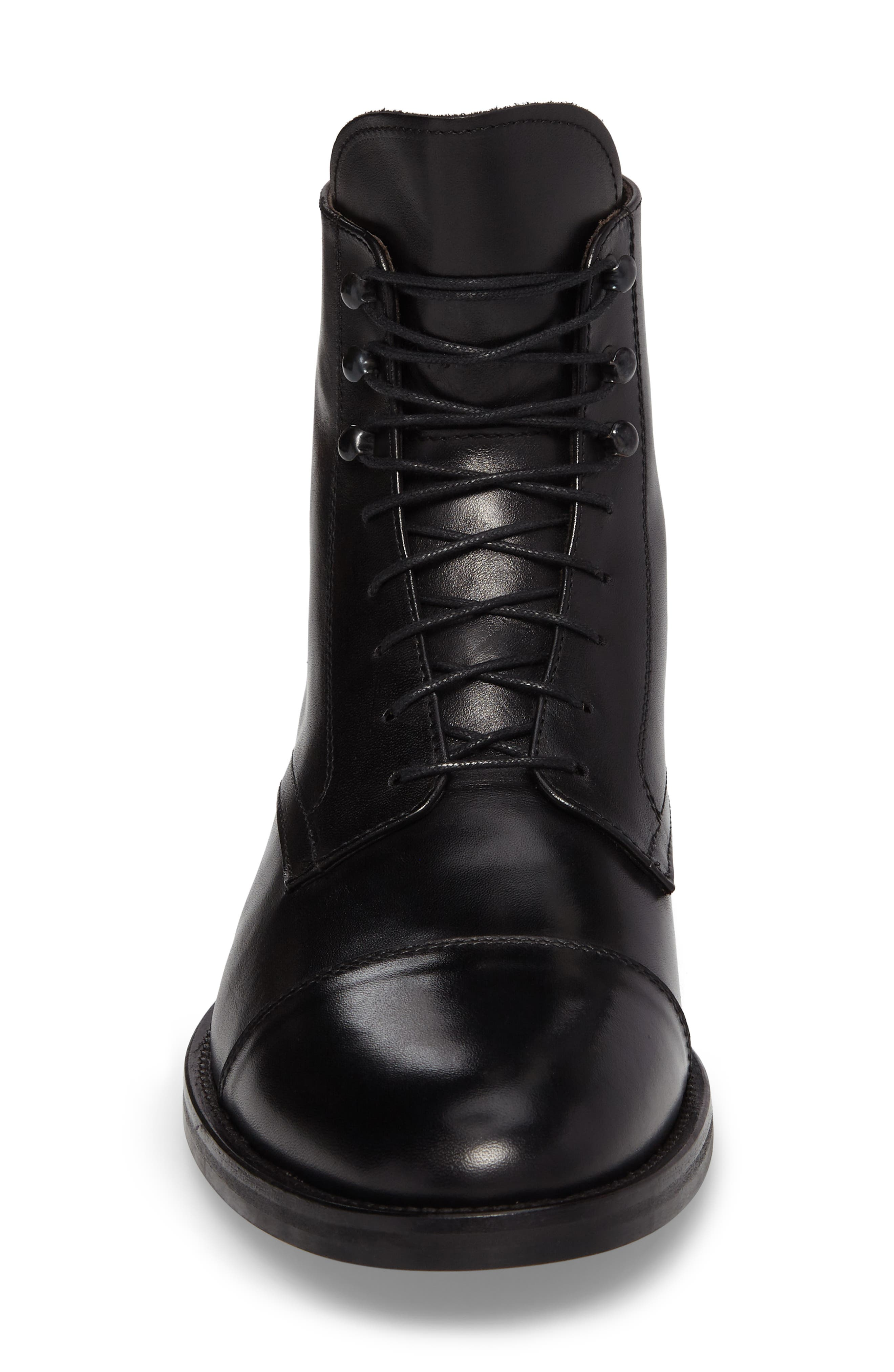 Henri Cap Toe Boot,                             Alternate thumbnail 4, color,                             BLACK