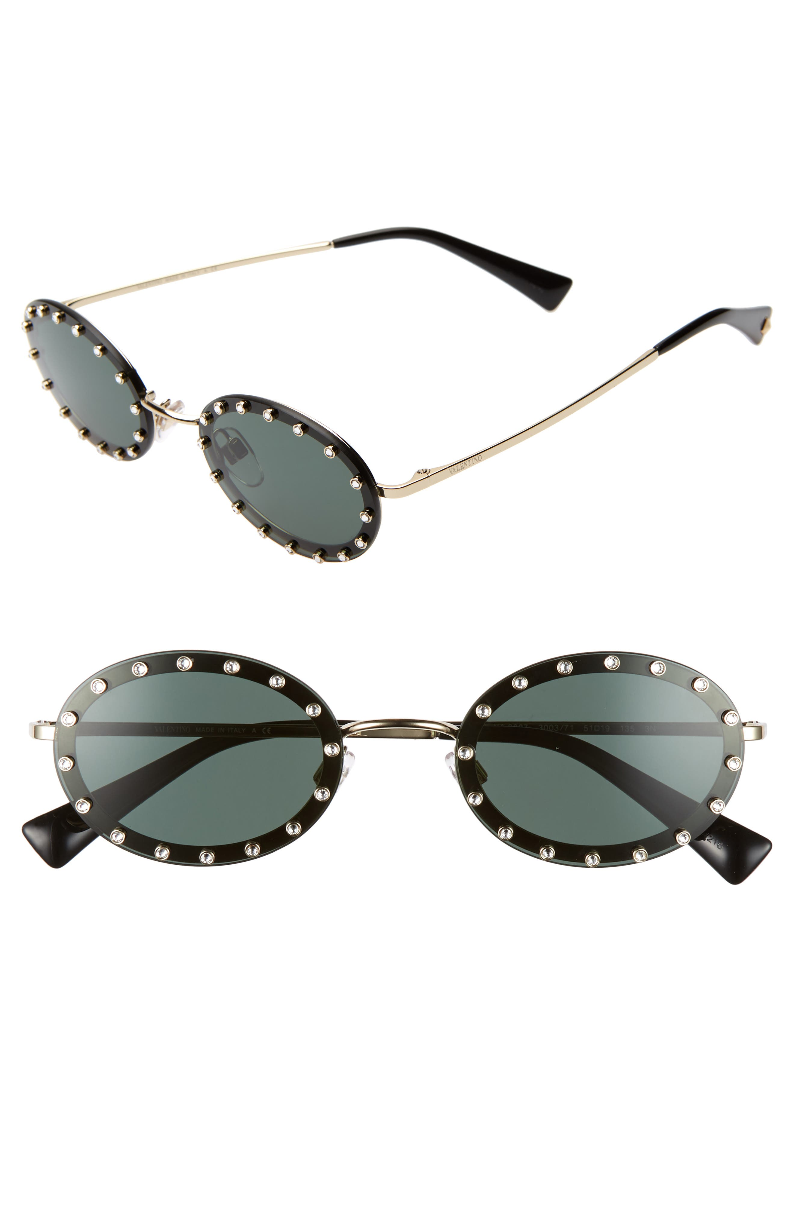 51mm Crystal Rockstud Oval Sunglasses, Main, color, BLACK/ GREEN SOLID