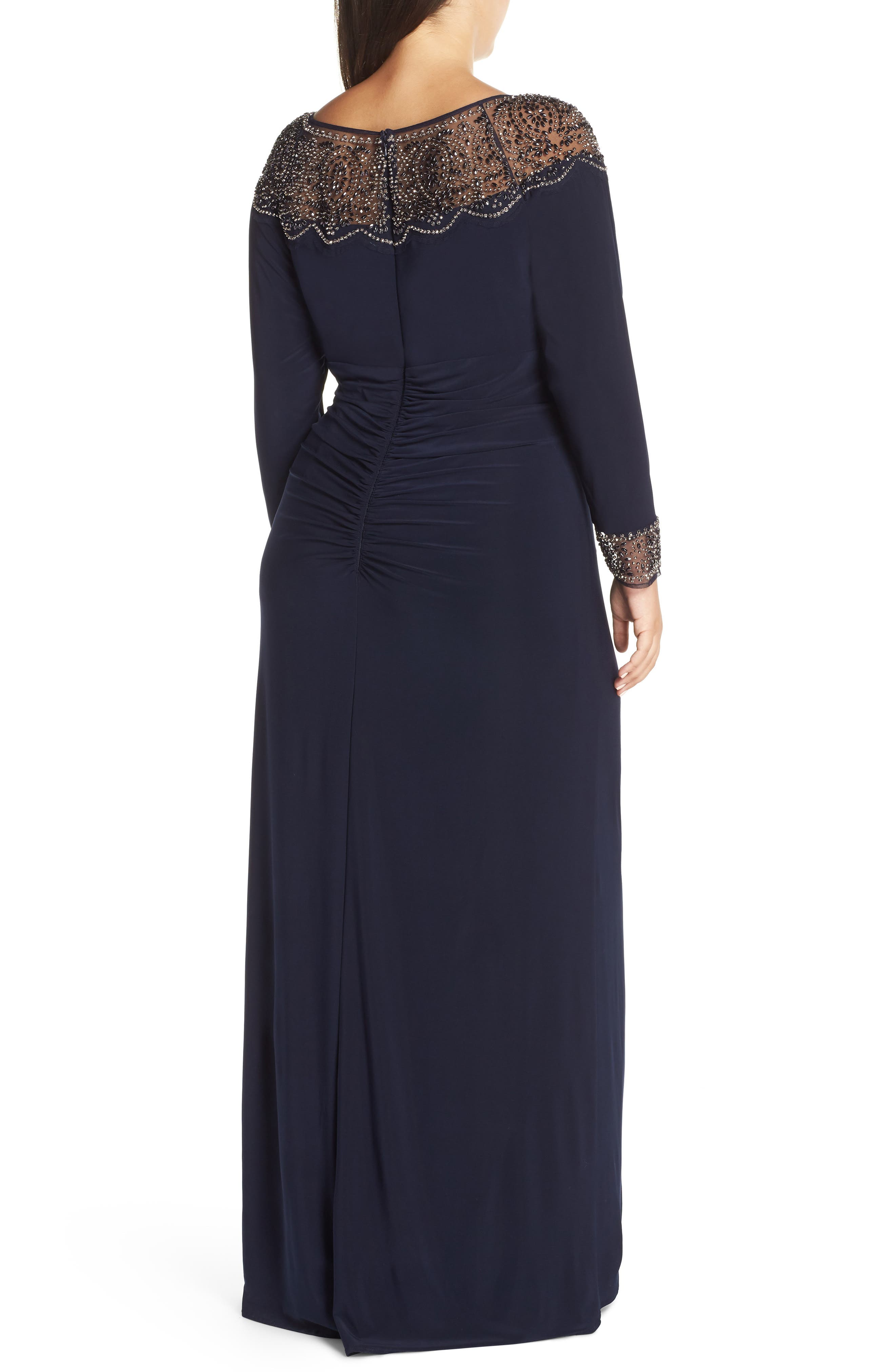 Side Ruched Beaded Gown,                             Alternate thumbnail 2, color,                             NAVY/ GUN