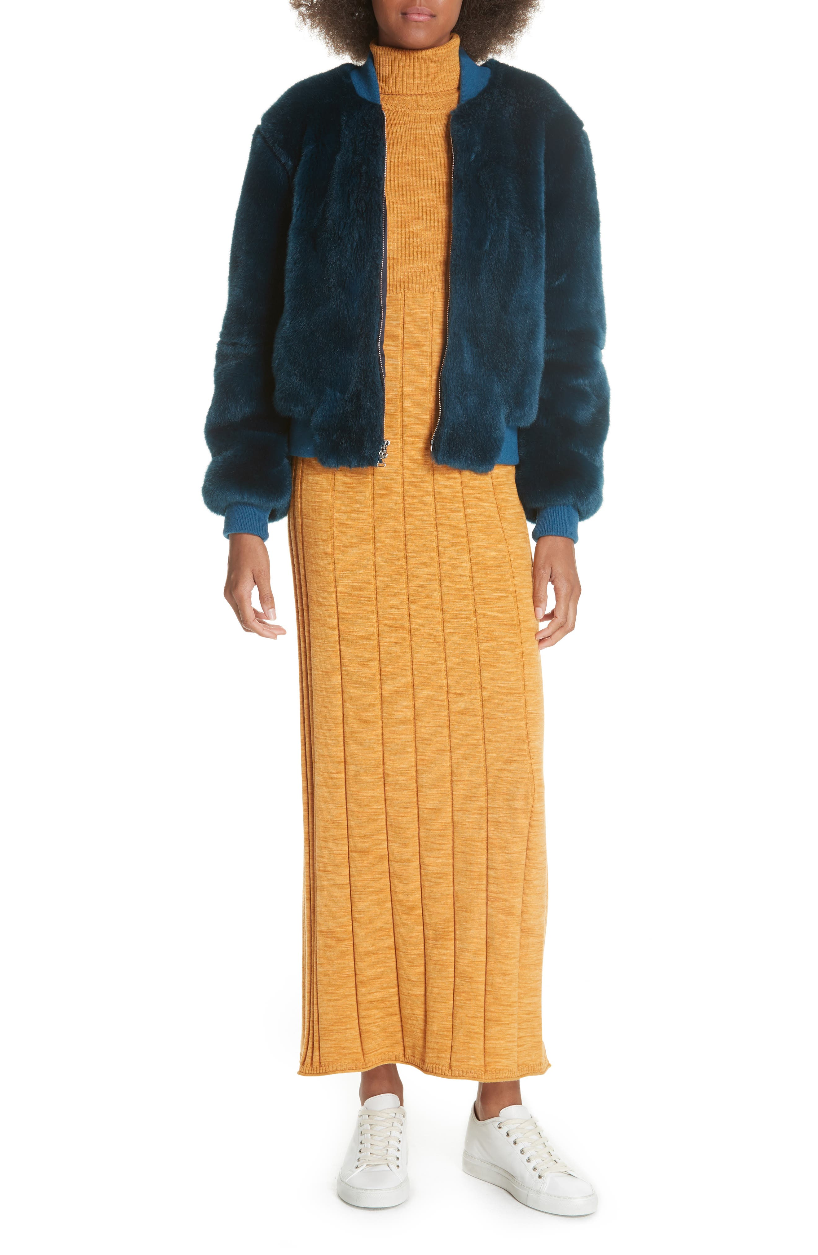 Clementine Ribbed Space Dye Wool Dress,                             Alternate thumbnail 7, color,                             700