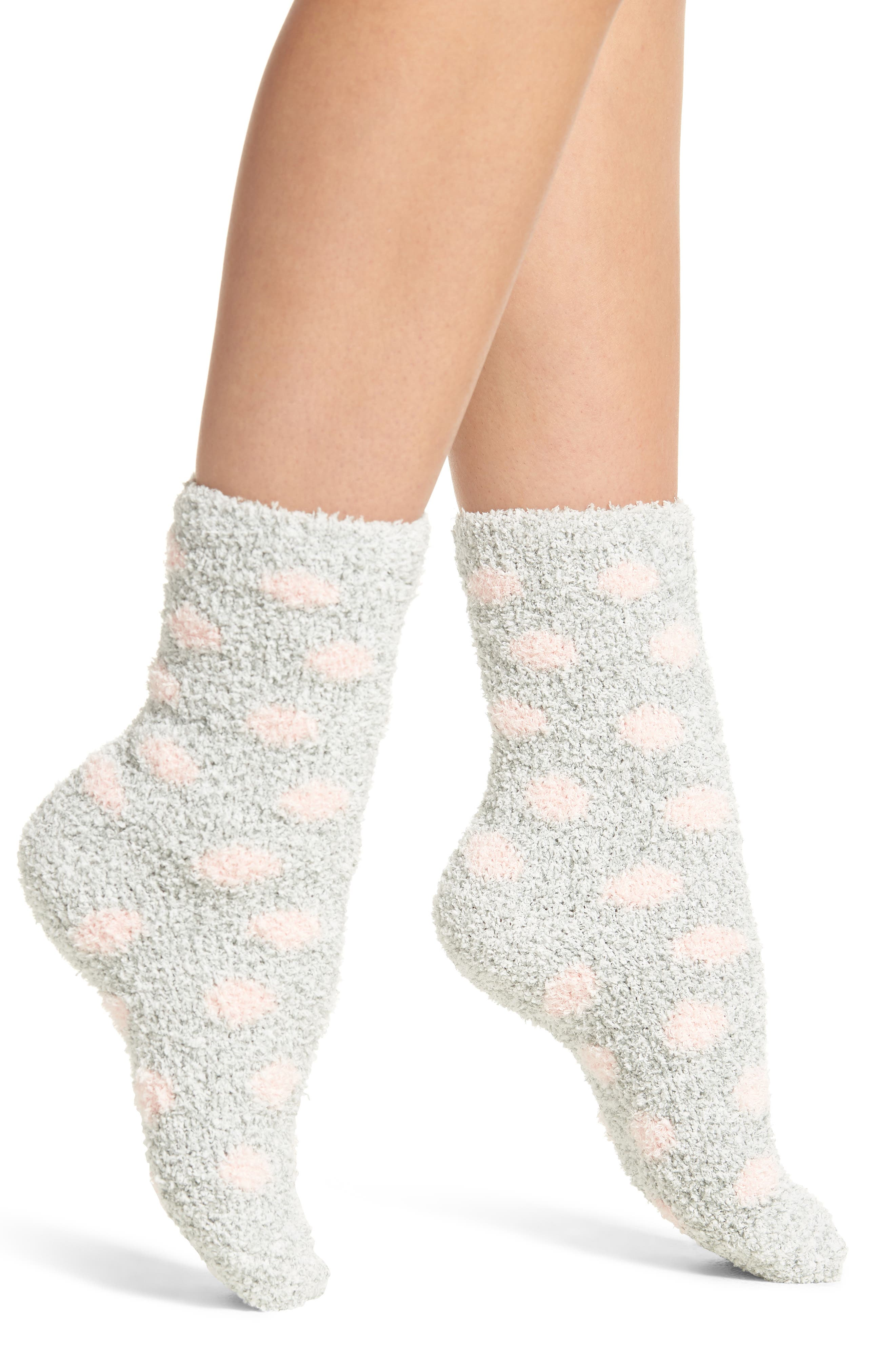 Butter Pattern Crew Socks,                         Main,                         color, GREY W/ LIGHT PINK DOTS