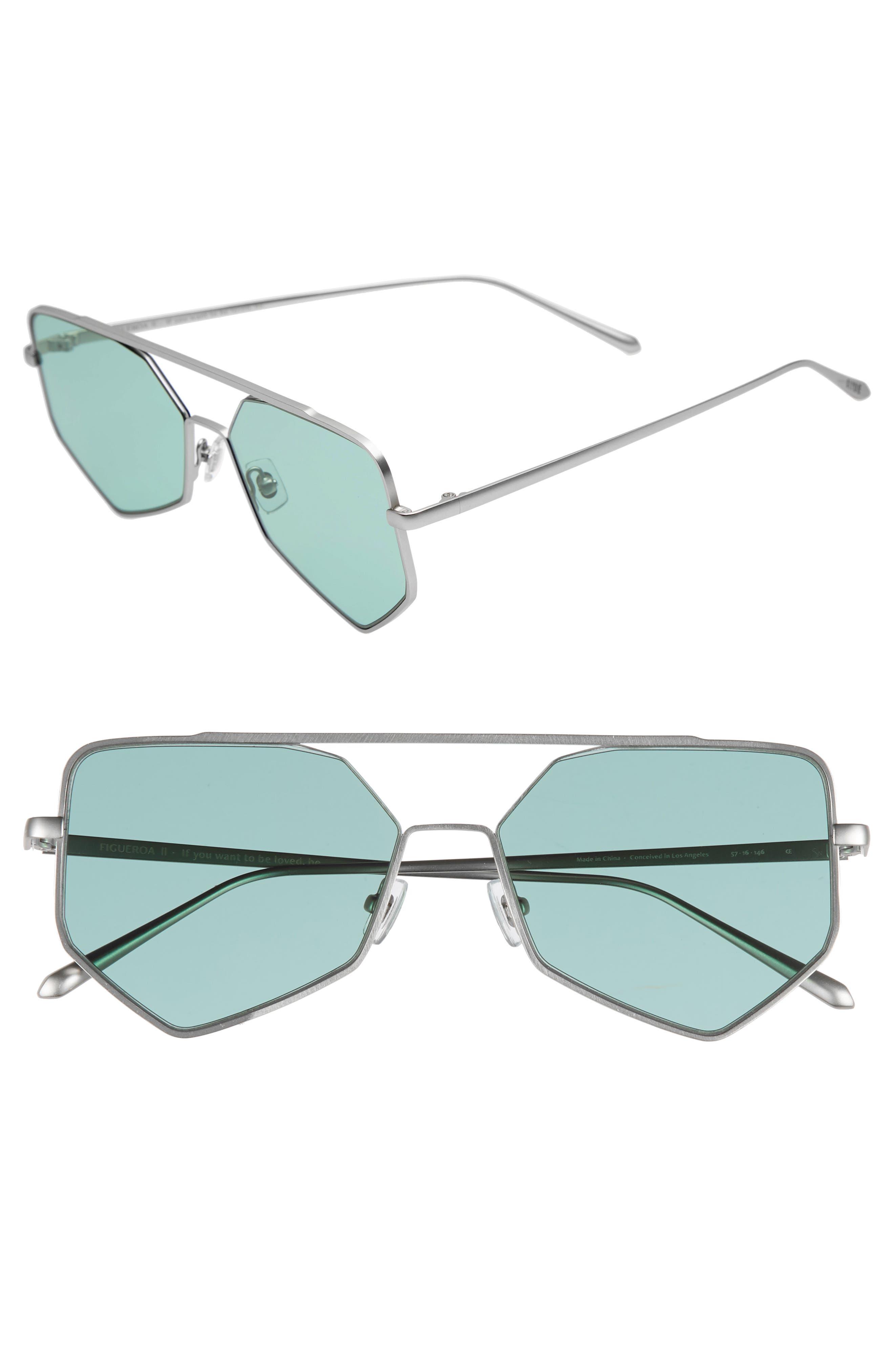 Bonnie Clyde Figueroa Ii 57Mm Aviator Sunglasses - Olive