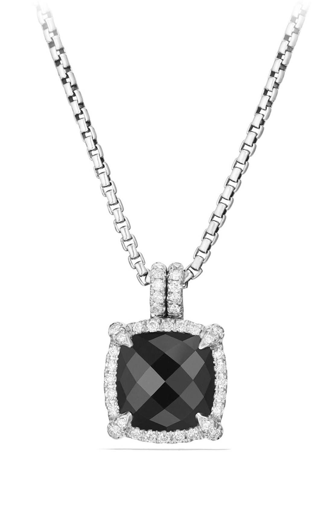 'Châtelaine' Small Pavé Bezel Pendant Necklace with Diamonds,                         Main,                         color, BLACK ONYX