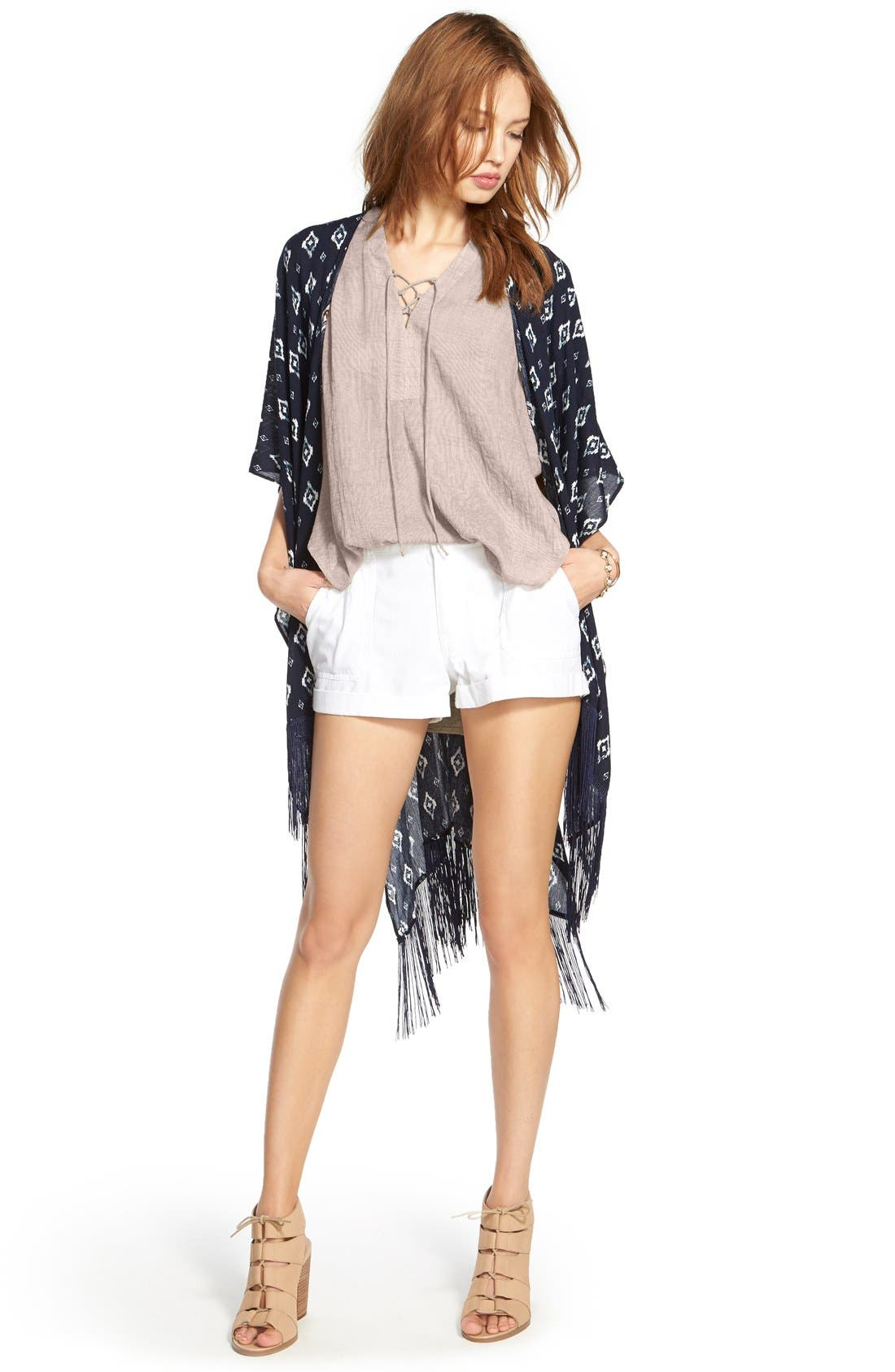 ---,                             Lace-Up Sleeveless Henley Top,                             Alternate thumbnail 6, color,                             020