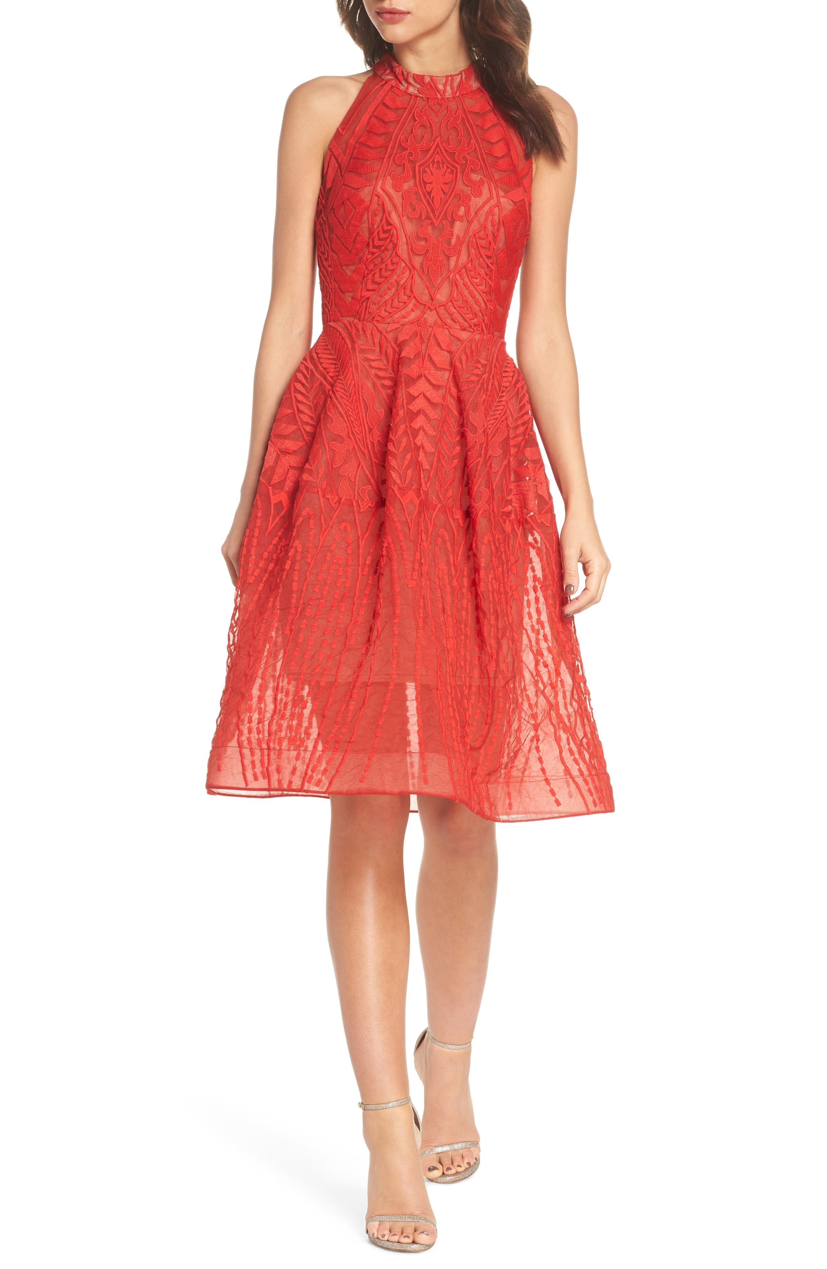 Notte Lace Fit & Flare Dress,                             Main thumbnail 1, color,                             RED