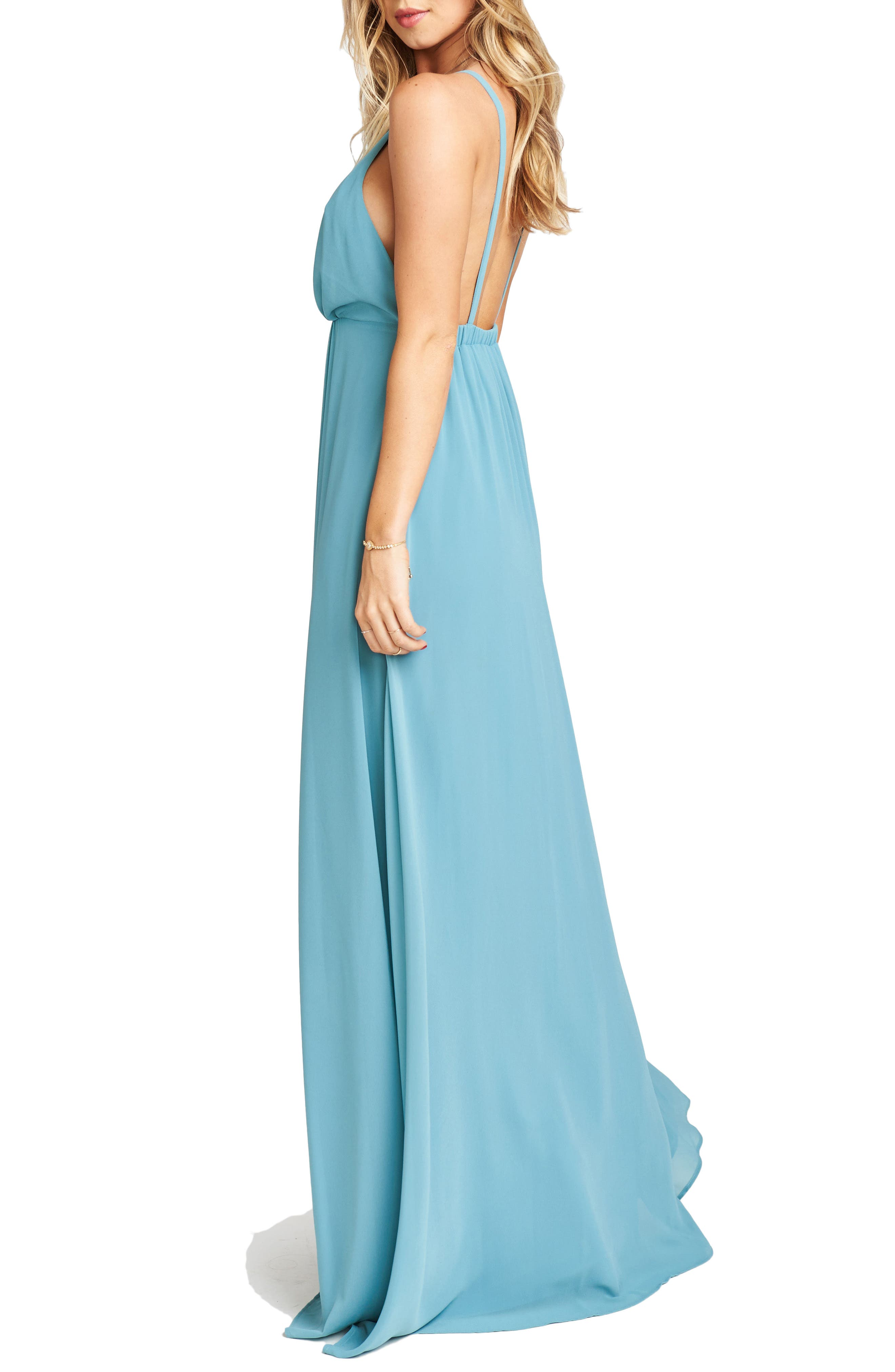 Amanda Open Back Blouson Gown,                             Alternate thumbnail 17, color,