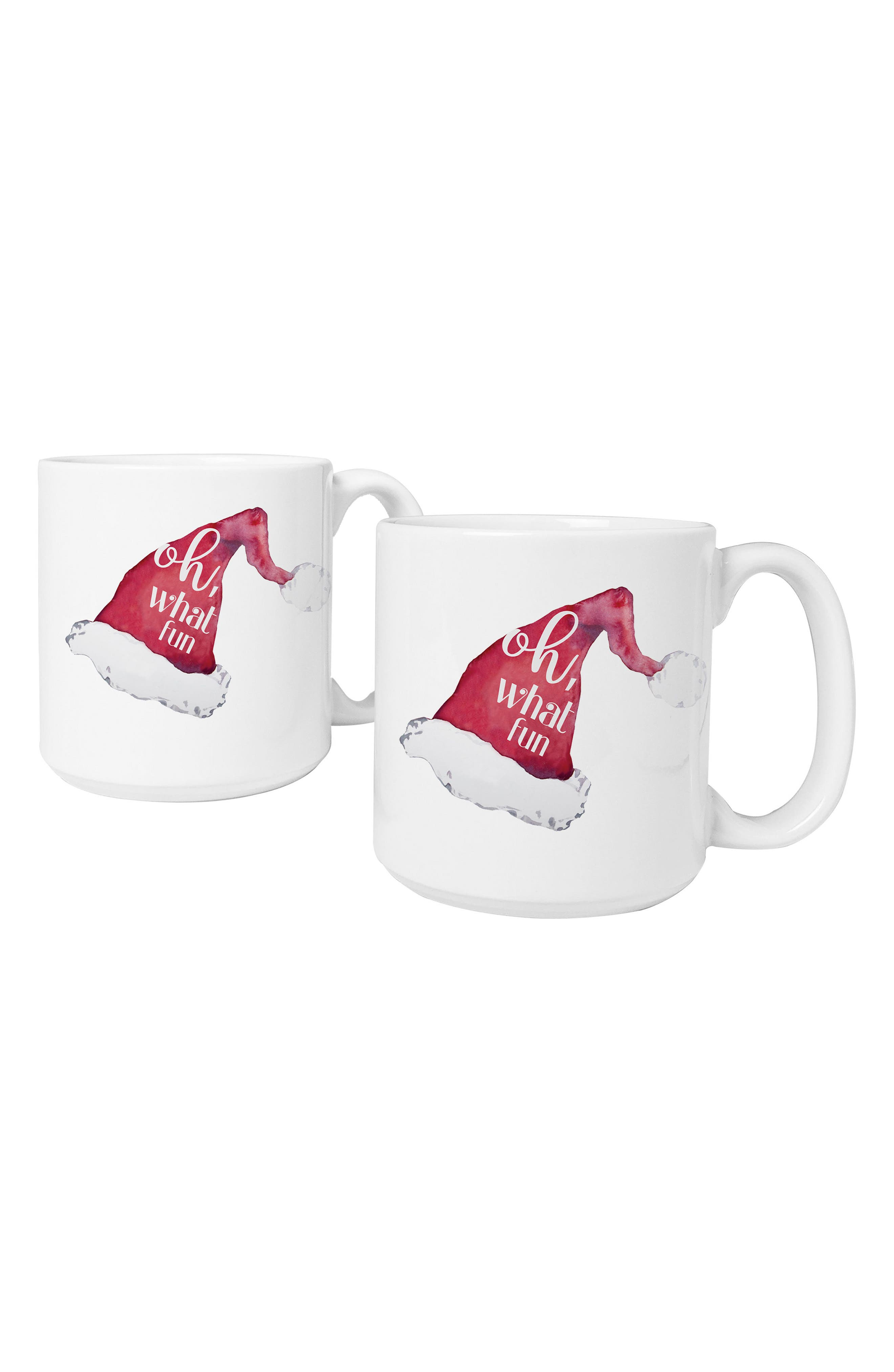 Oh What Fun Set of 2 Mugs,                             Main thumbnail 1, color,                             RED