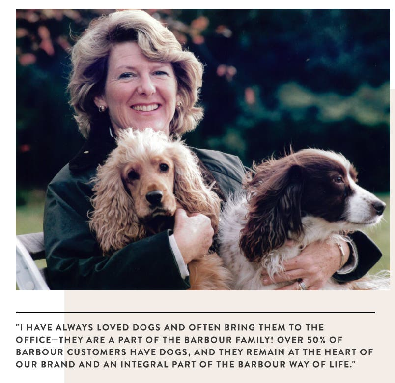 Dame Margaret Barbour with dogs.