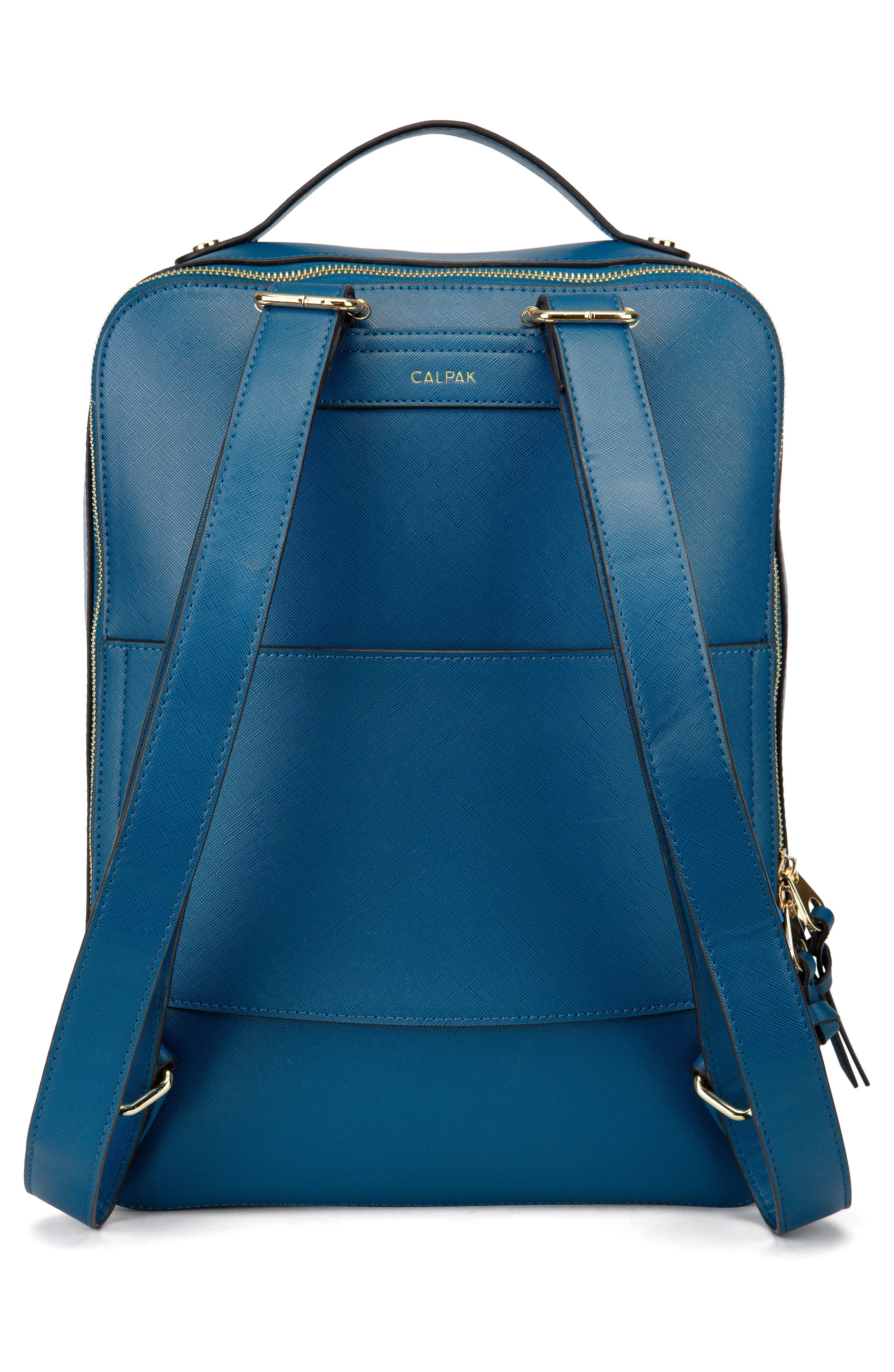 Kaya Faux Leather 15-Inch Laptop Backpack,                             Alternate thumbnail 2, color,                             DEEP BLUE