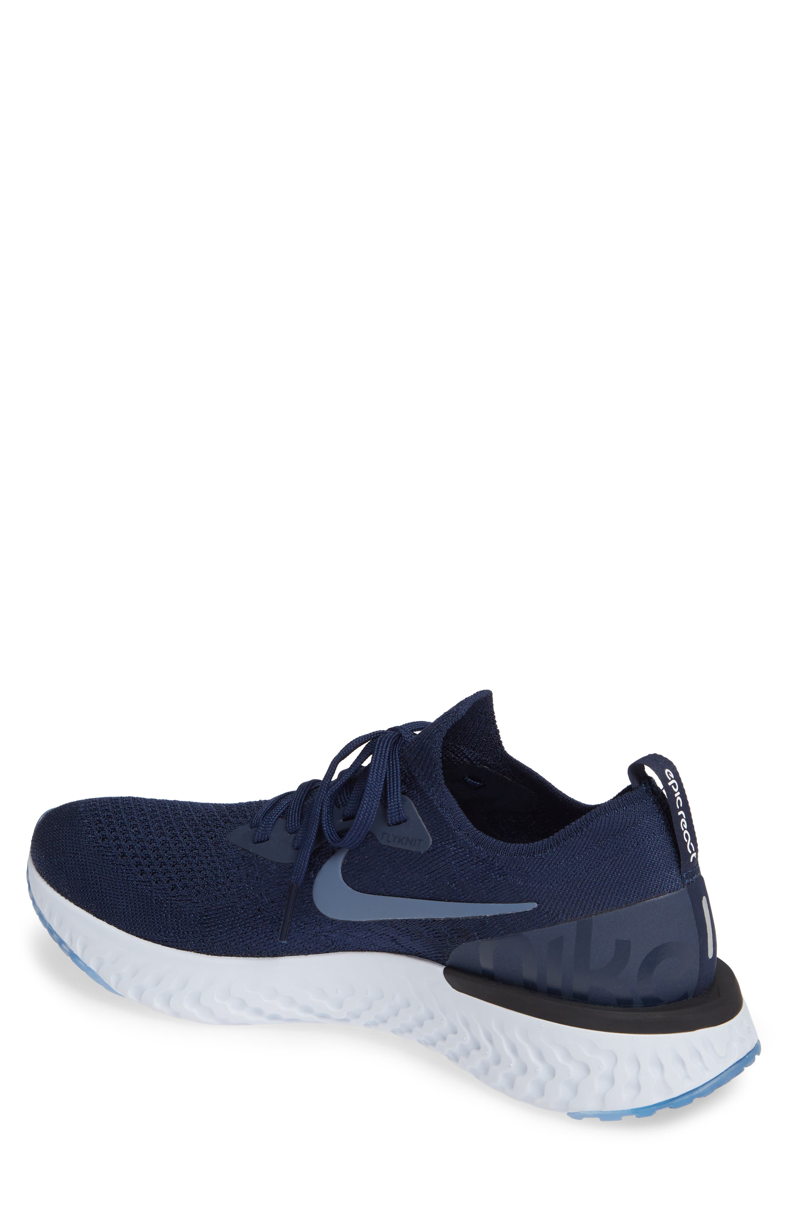 Epic React Flyknit Running Shoe,                             Alternate thumbnail 2, color,                             COLLEGE NAVY/ BLUE/ GREY