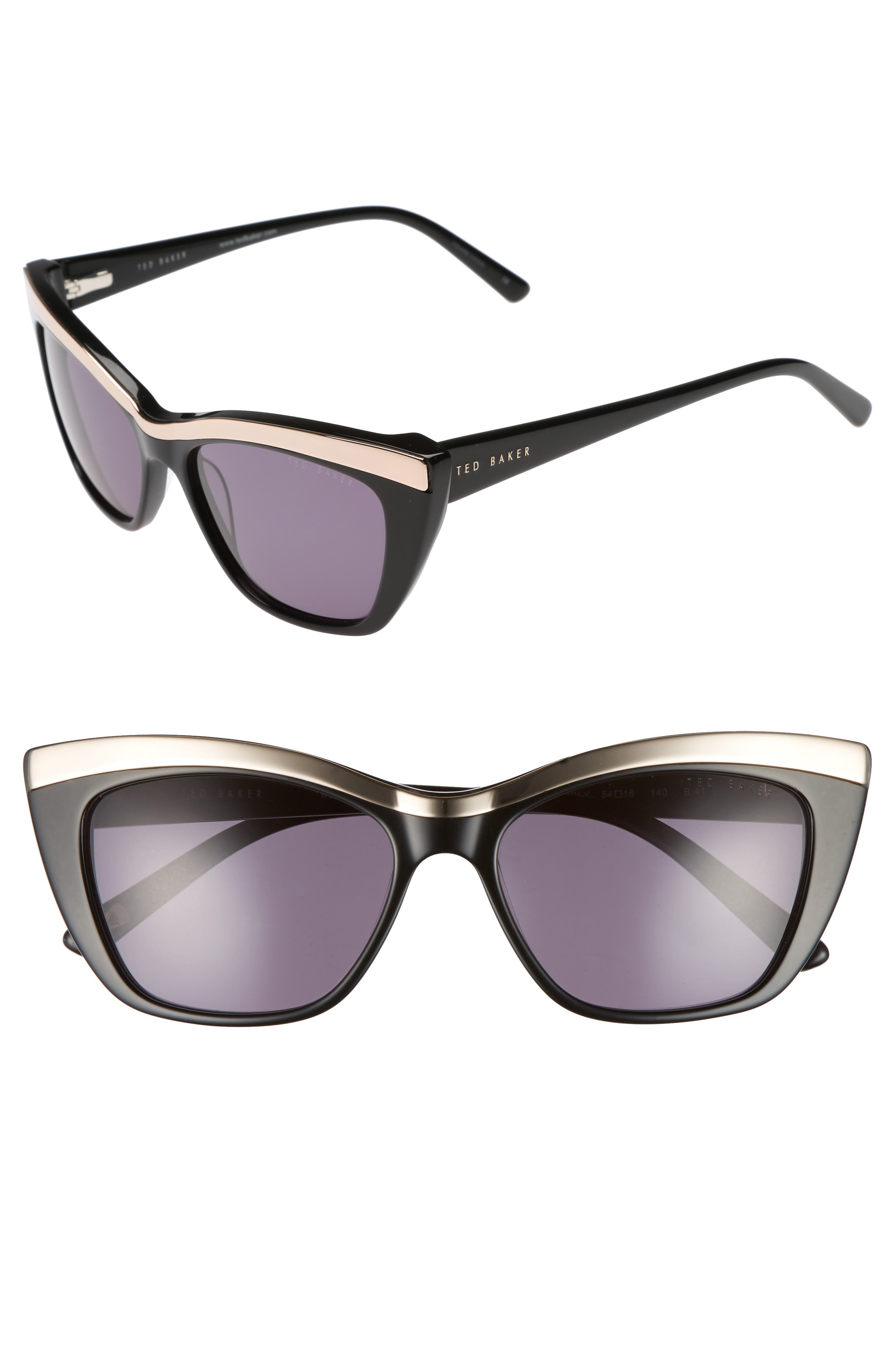 54mm Rectangle Cat Eye Sunglasses,                         Main,                         color, 001