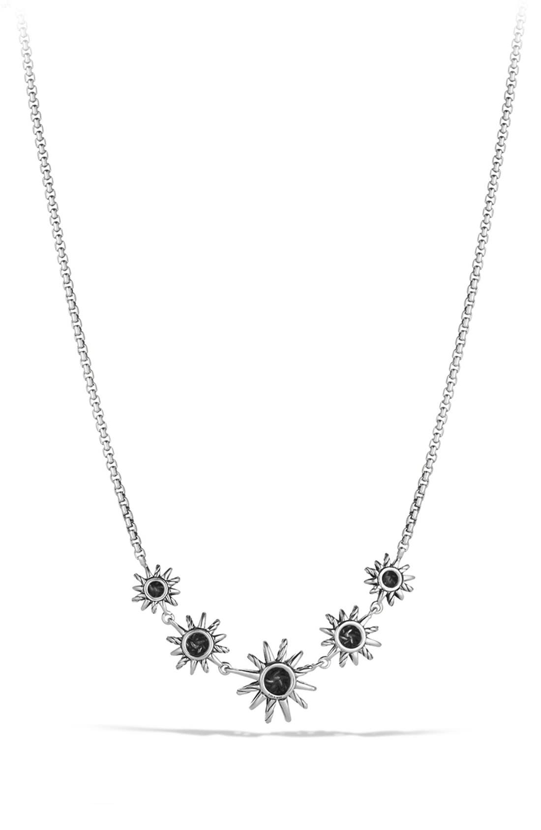 'Starburst' Five-Station Necklace with Diamonds,                             Alternate thumbnail 3, color,                             STERLING SILVER