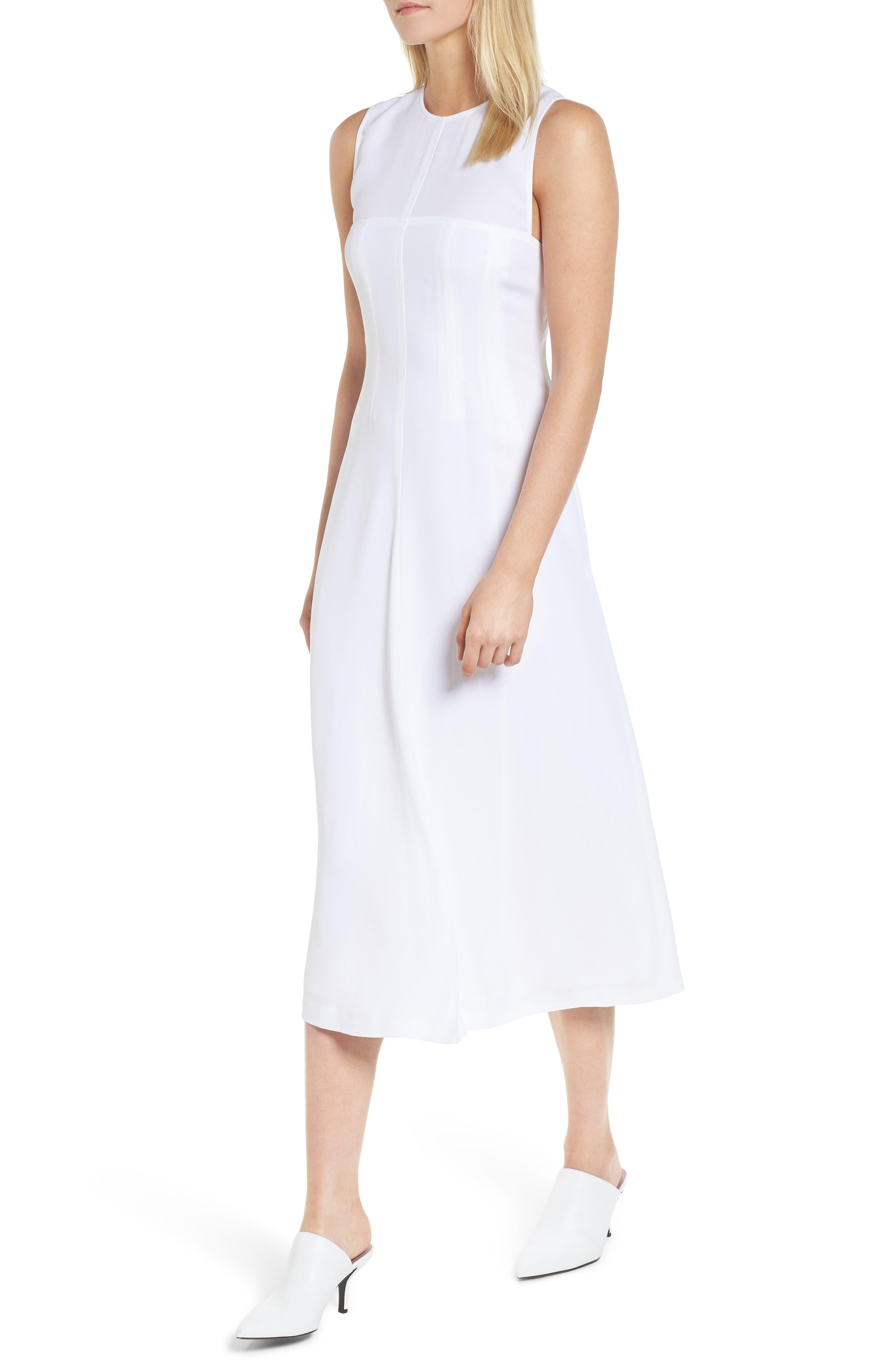 Corset Detail Midi Dress,                             Main thumbnail 1, color,                             100