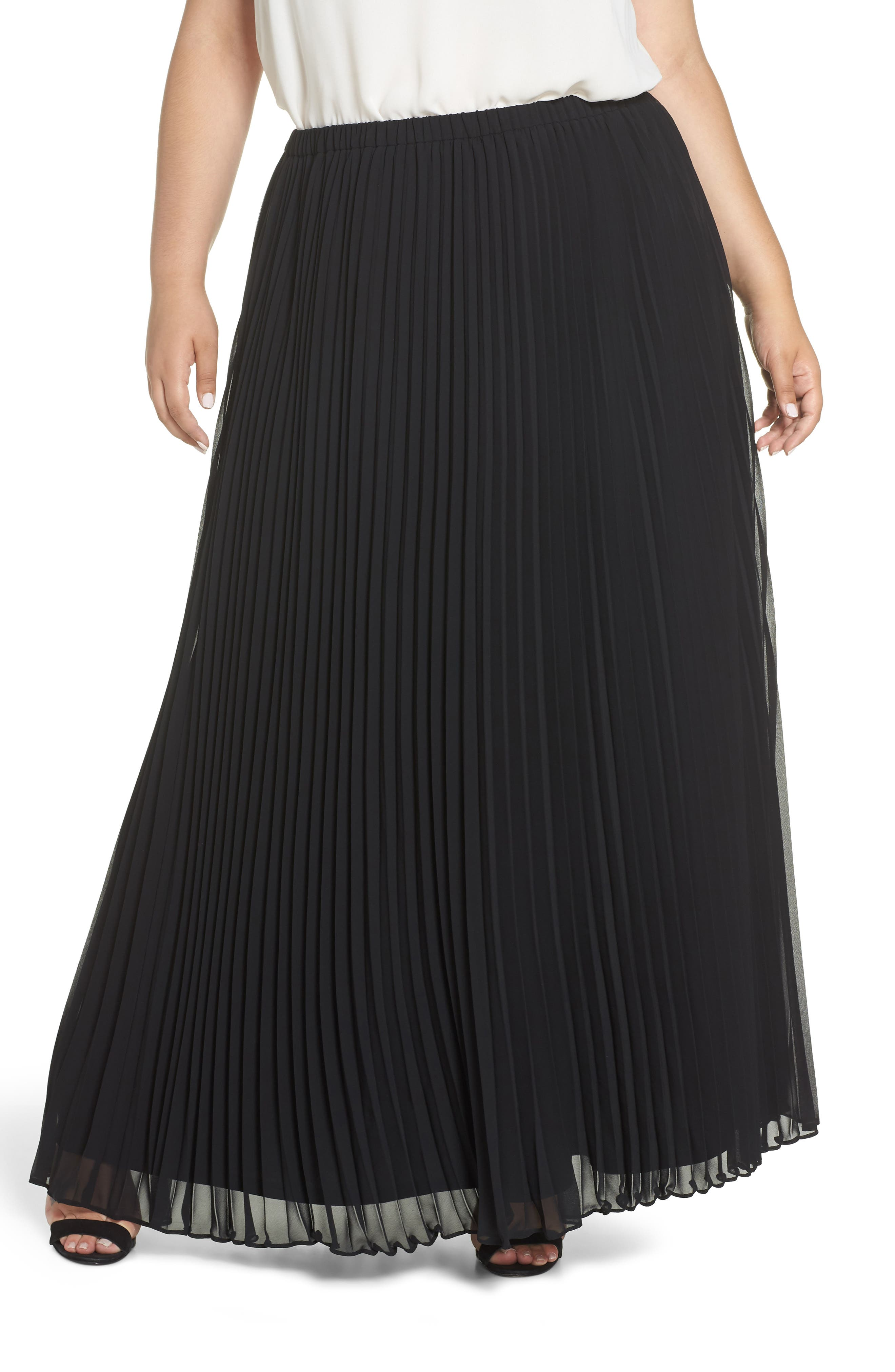 Long Pleated Chiffon Skirt,                         Main,                         color, BLACK
