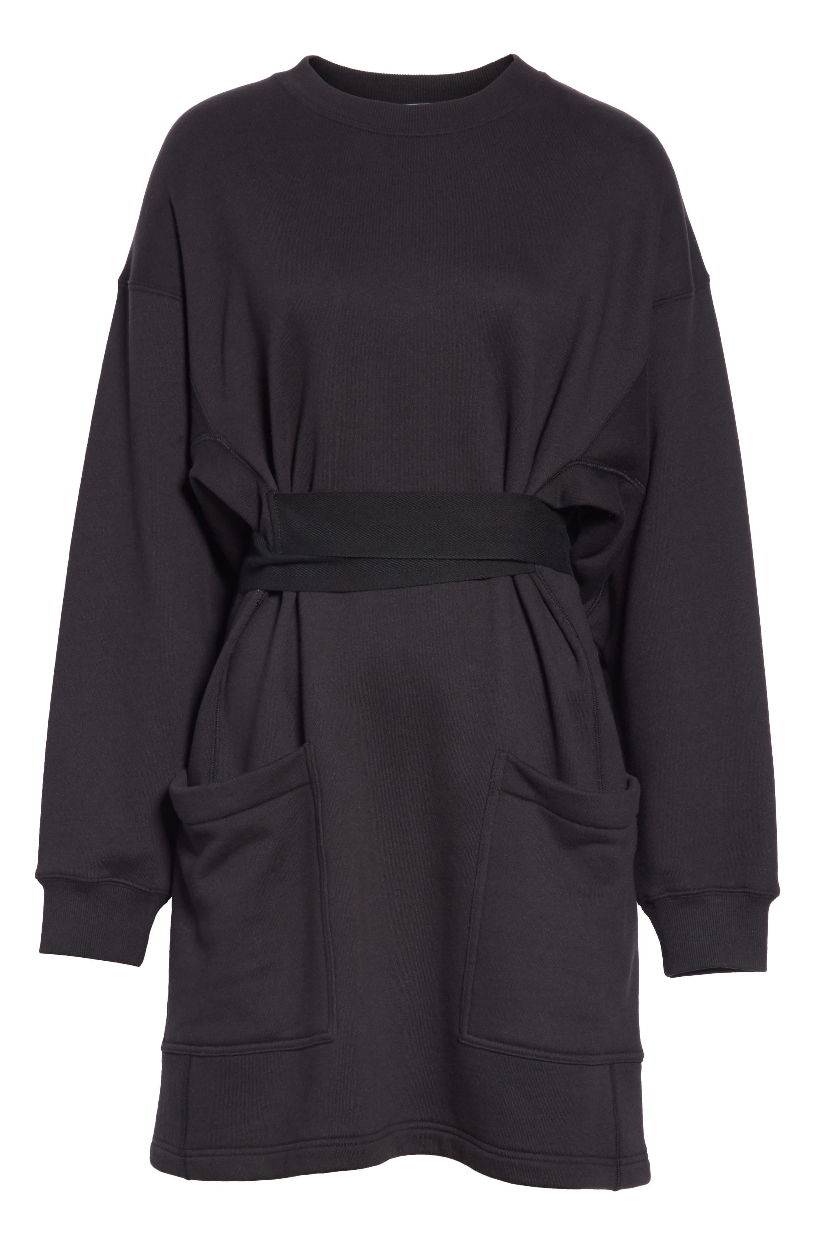 PSWL Belted Sweatshirt Dress,                             Alternate thumbnail 7, color,                             BLACK
