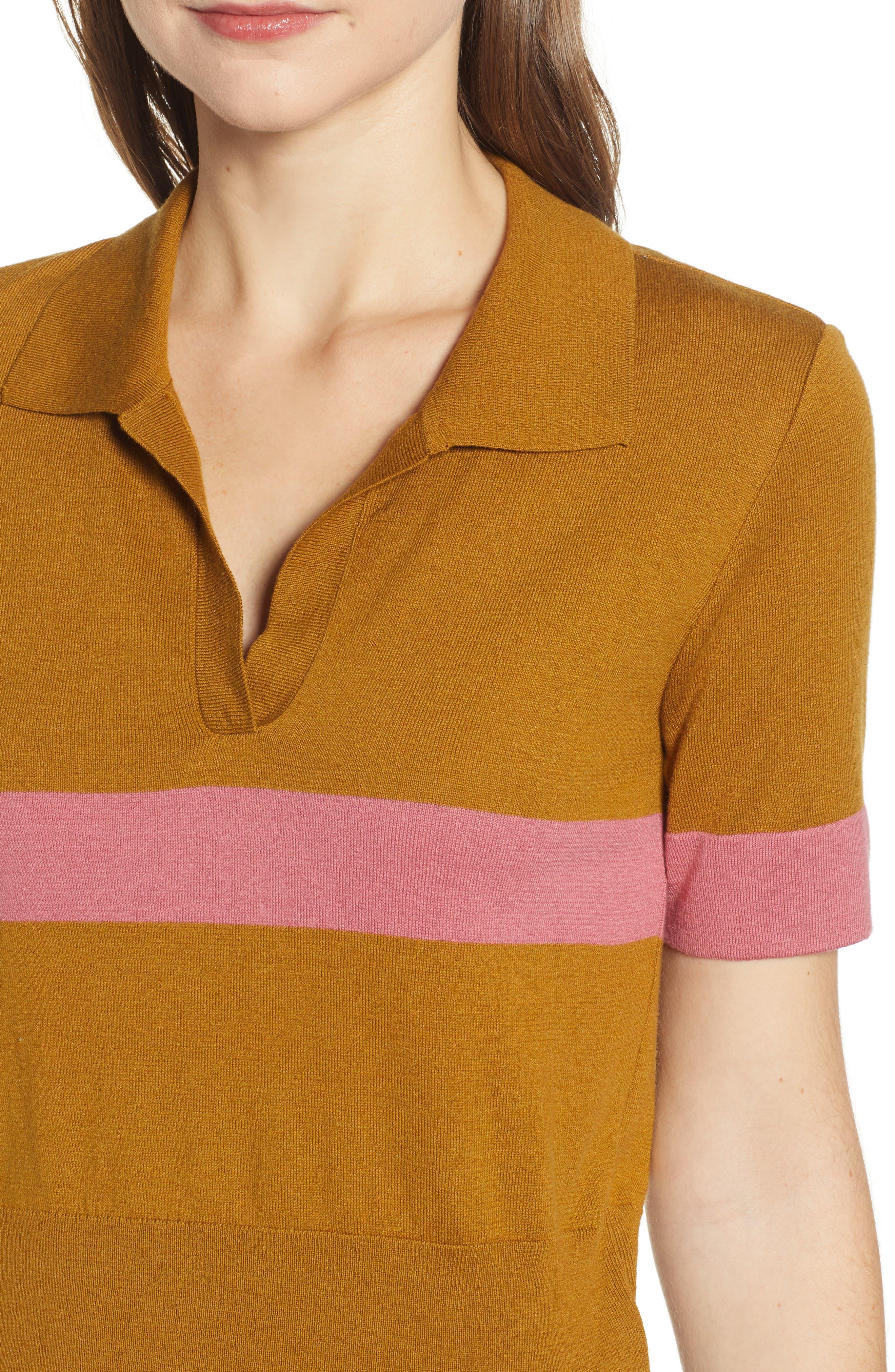 BP., Stripe Polo Sweater, Alternate thumbnail 4, color, BROWN BRONZE AIME STRIPE