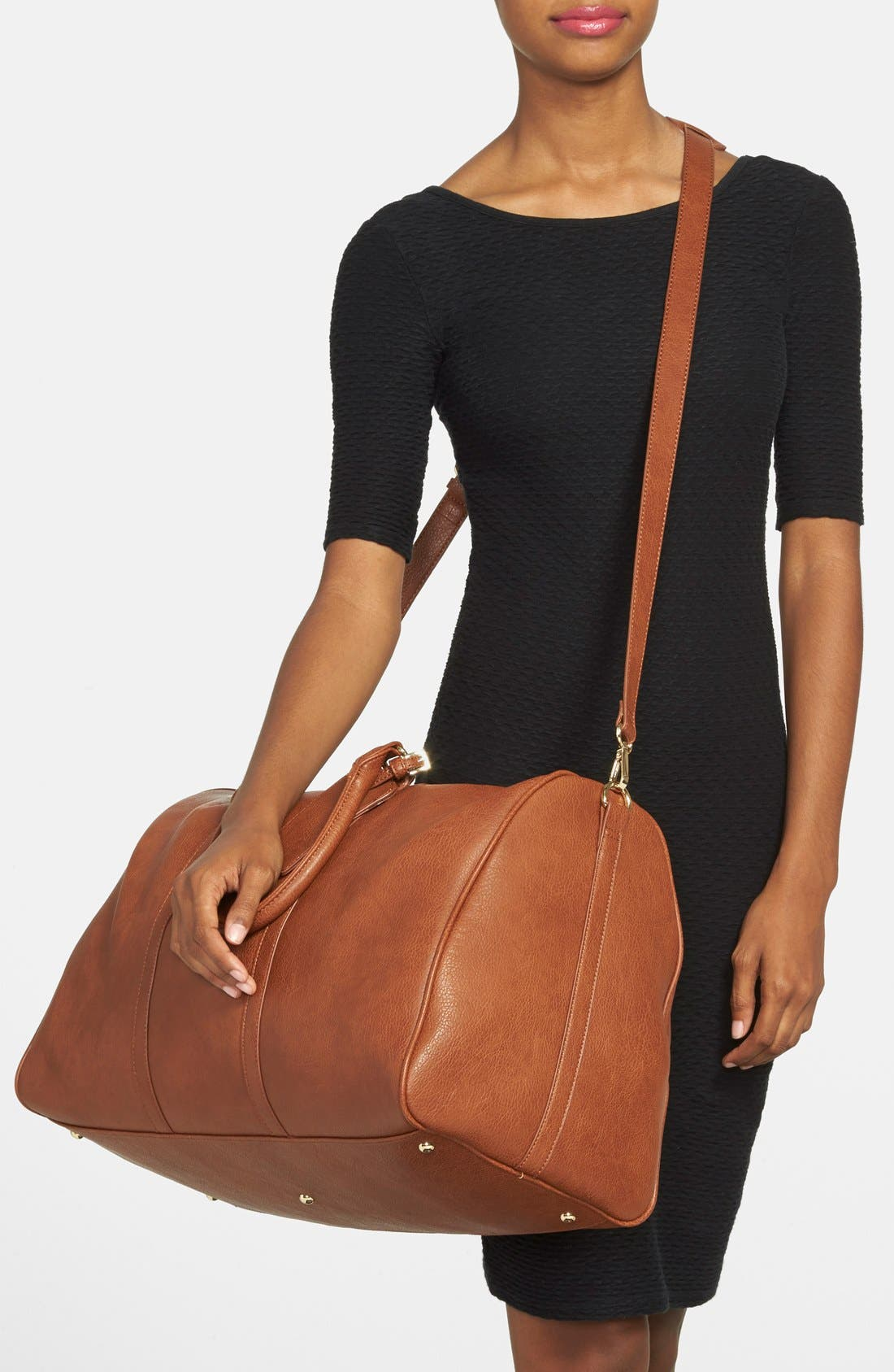 SOLE SOCIETY,                             'Lacie' Faux Leather Duffel Bag,                             Alternate thumbnail 3, color,                             BROWN