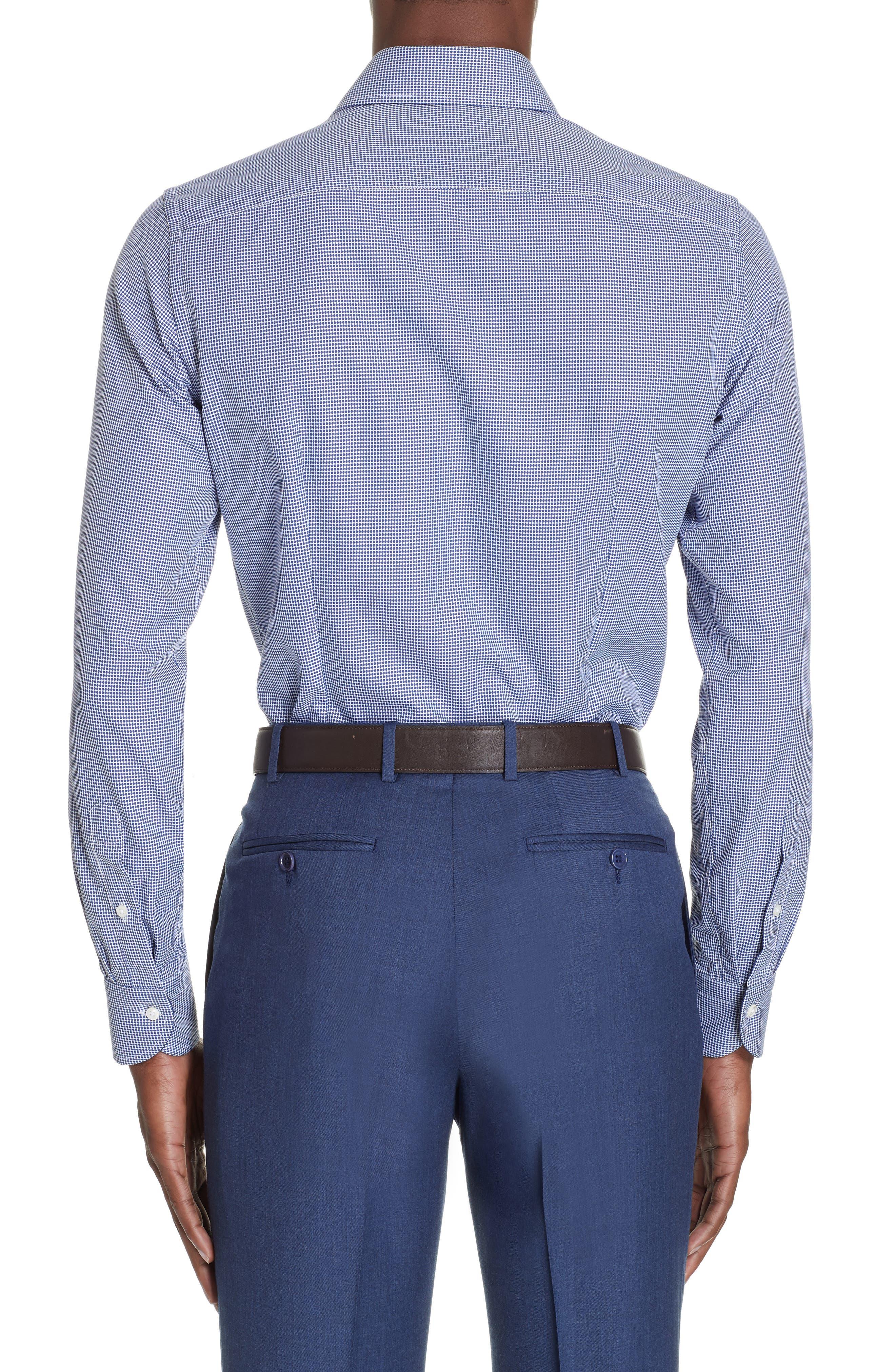 Slim Fit Dot Dress Shirt,                             Alternate thumbnail 3, color,                             NAVY