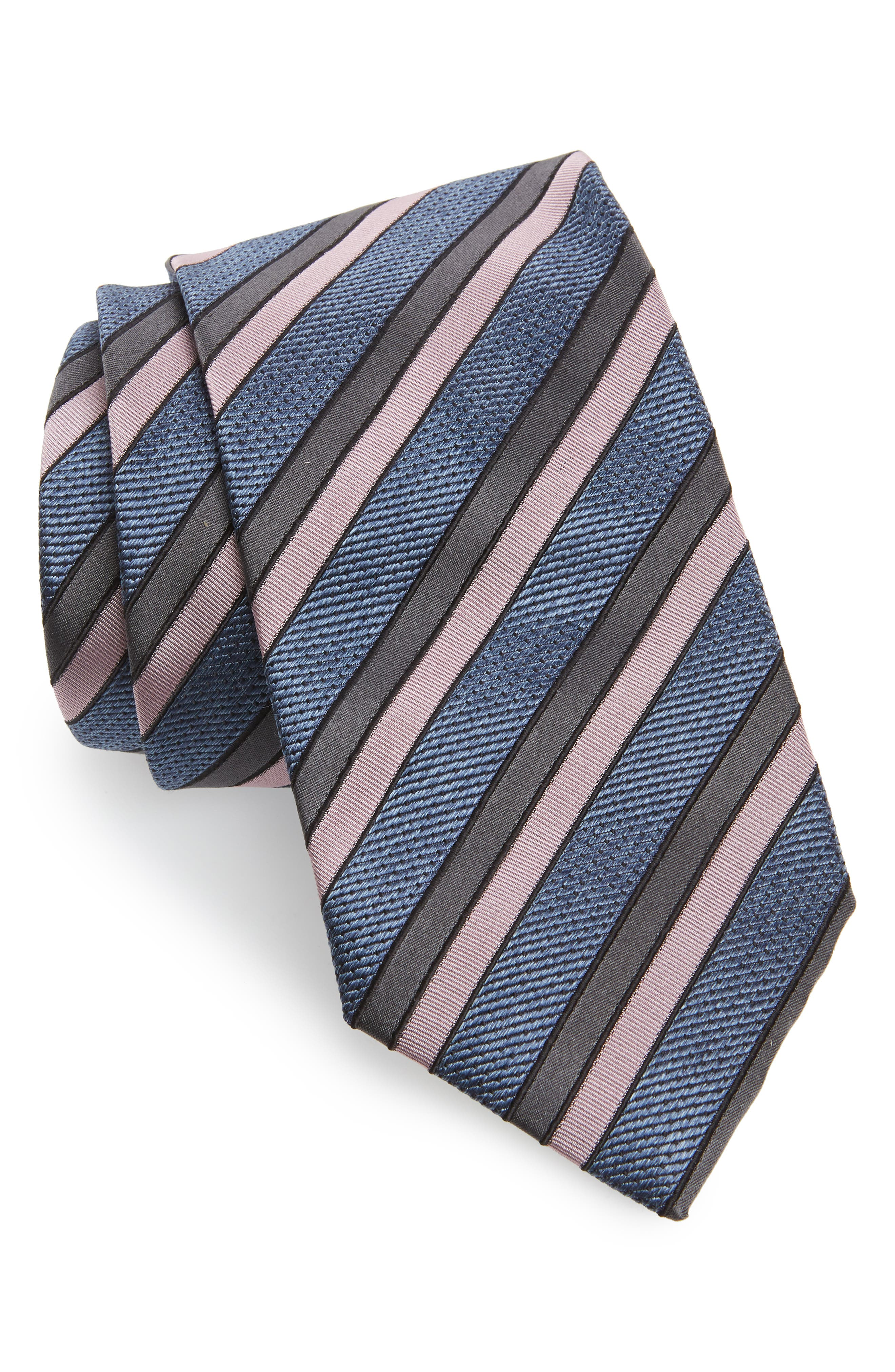 Jacquard Stripe Silk Tie,                         Main,                         color, BLUE