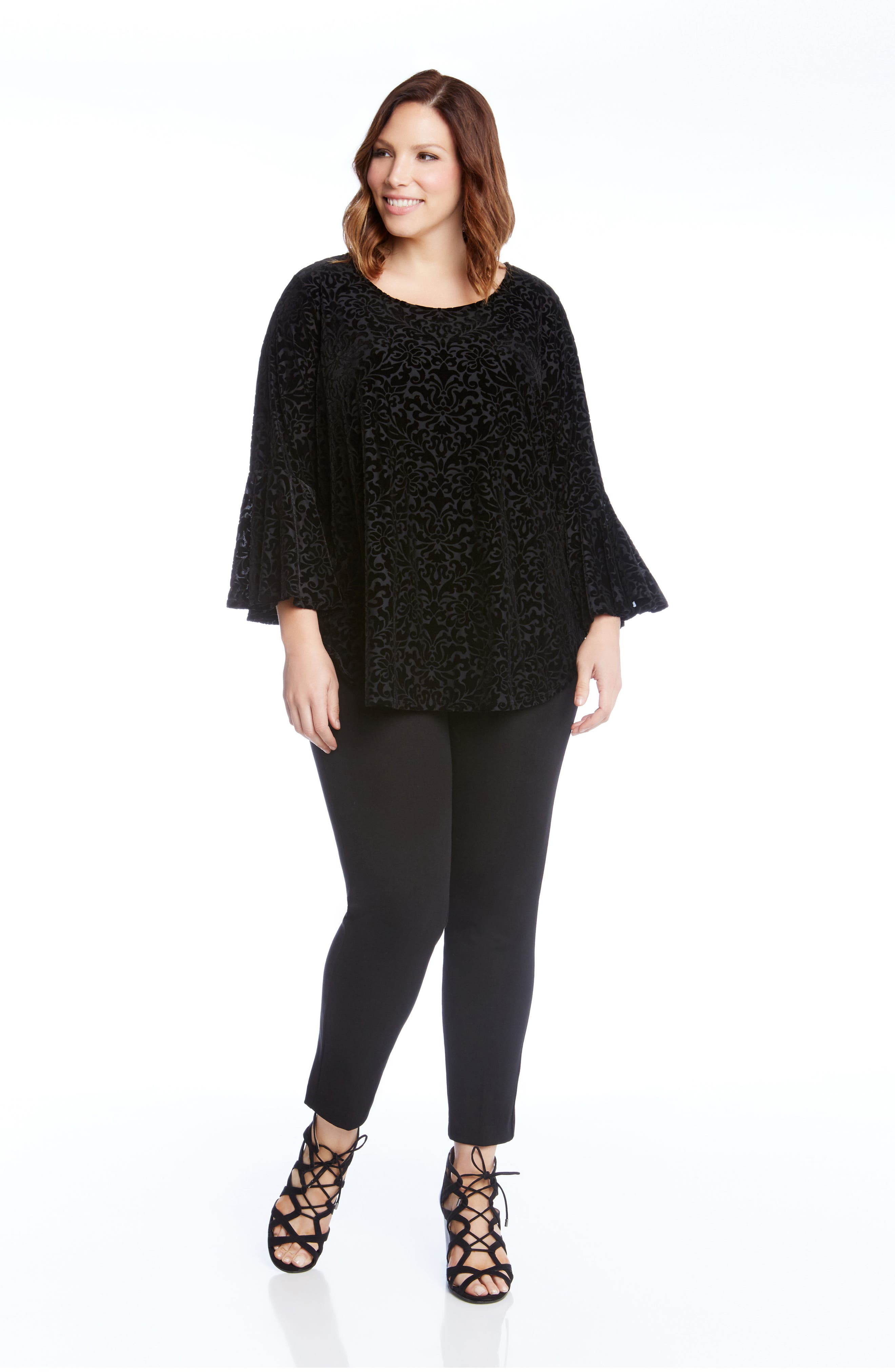 Velvet Burnout Bell Sleeve Top,                             Alternate thumbnail 3, color,                             001