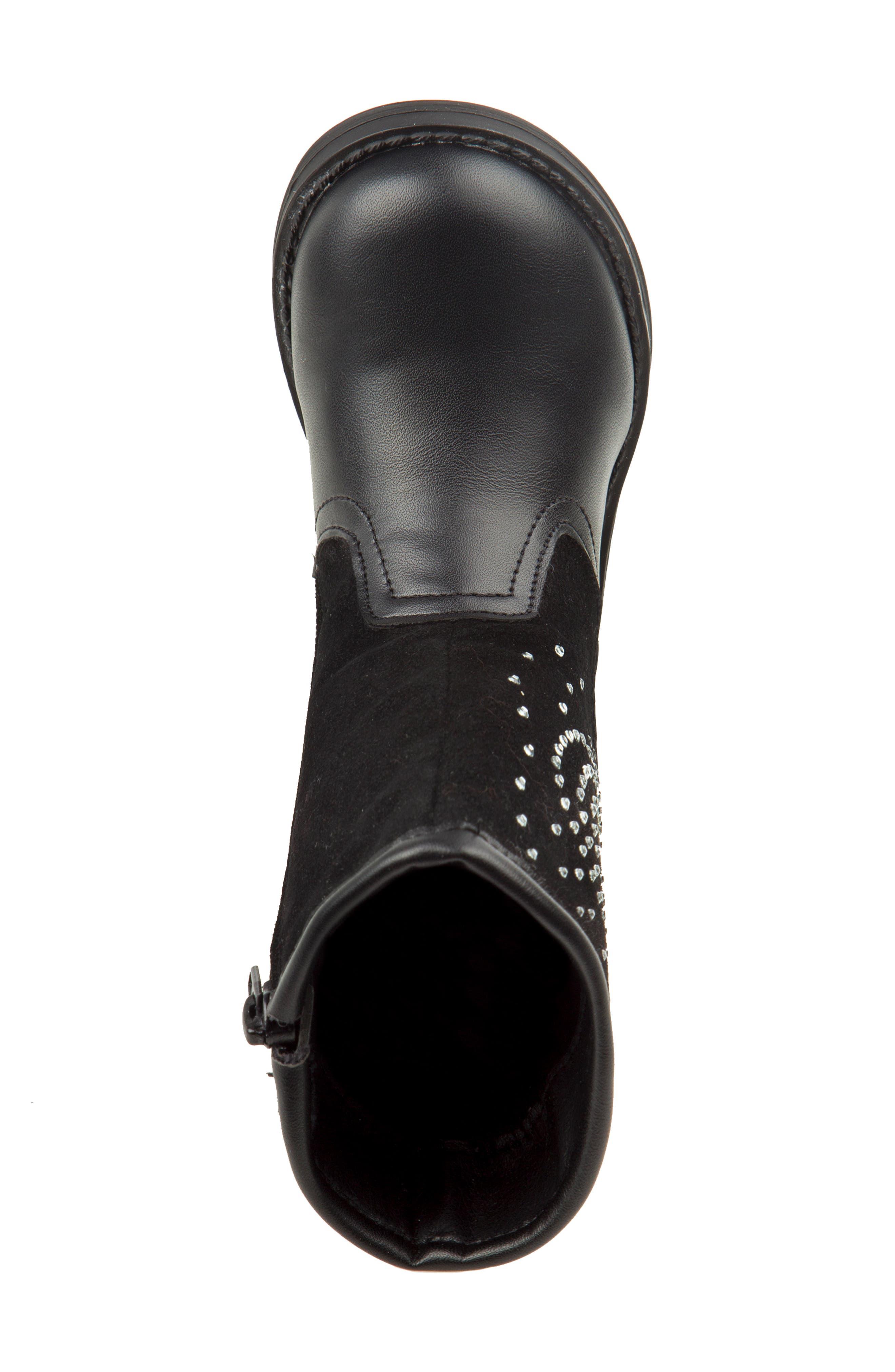 Studded Heart Boot,                             Alternate thumbnail 4, color,                             BLACK