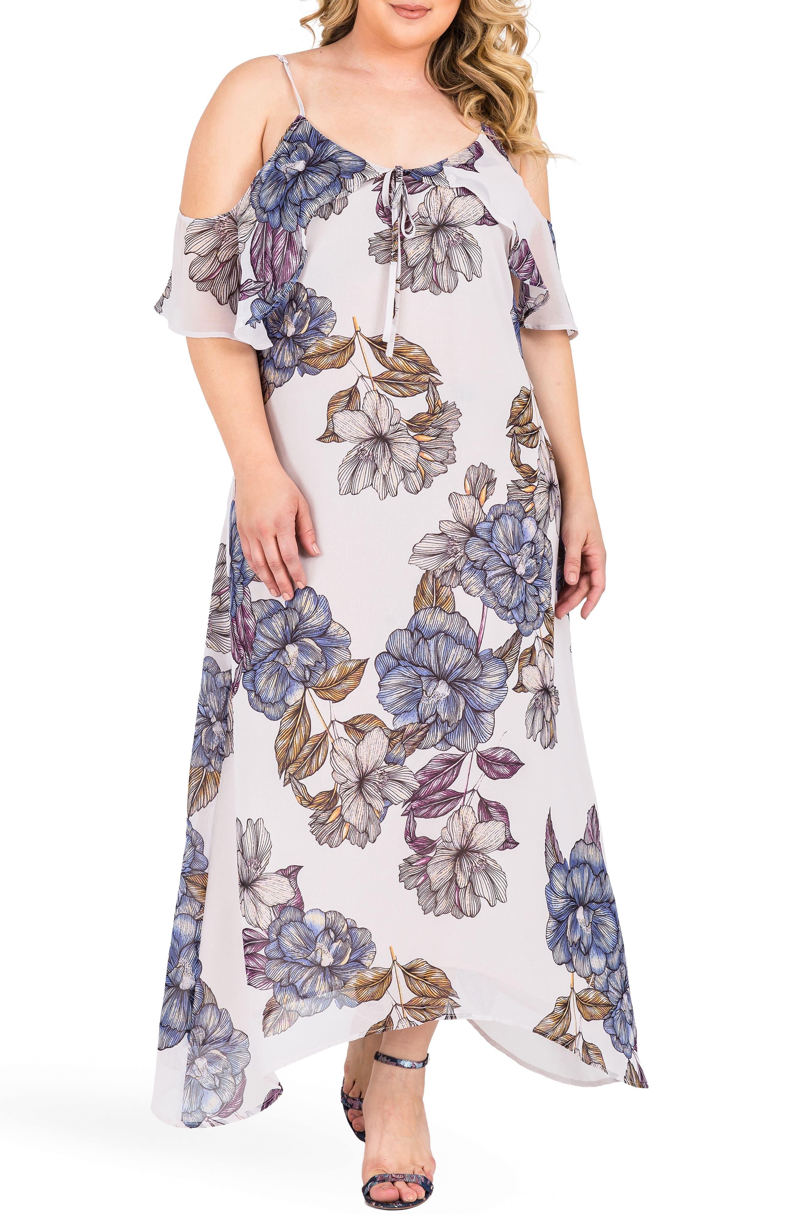 Matilda Floral Cold Shoulder Maxi Dress,                             Main thumbnail 1, color,                             LIGHT GRAY FLORAL PRINT