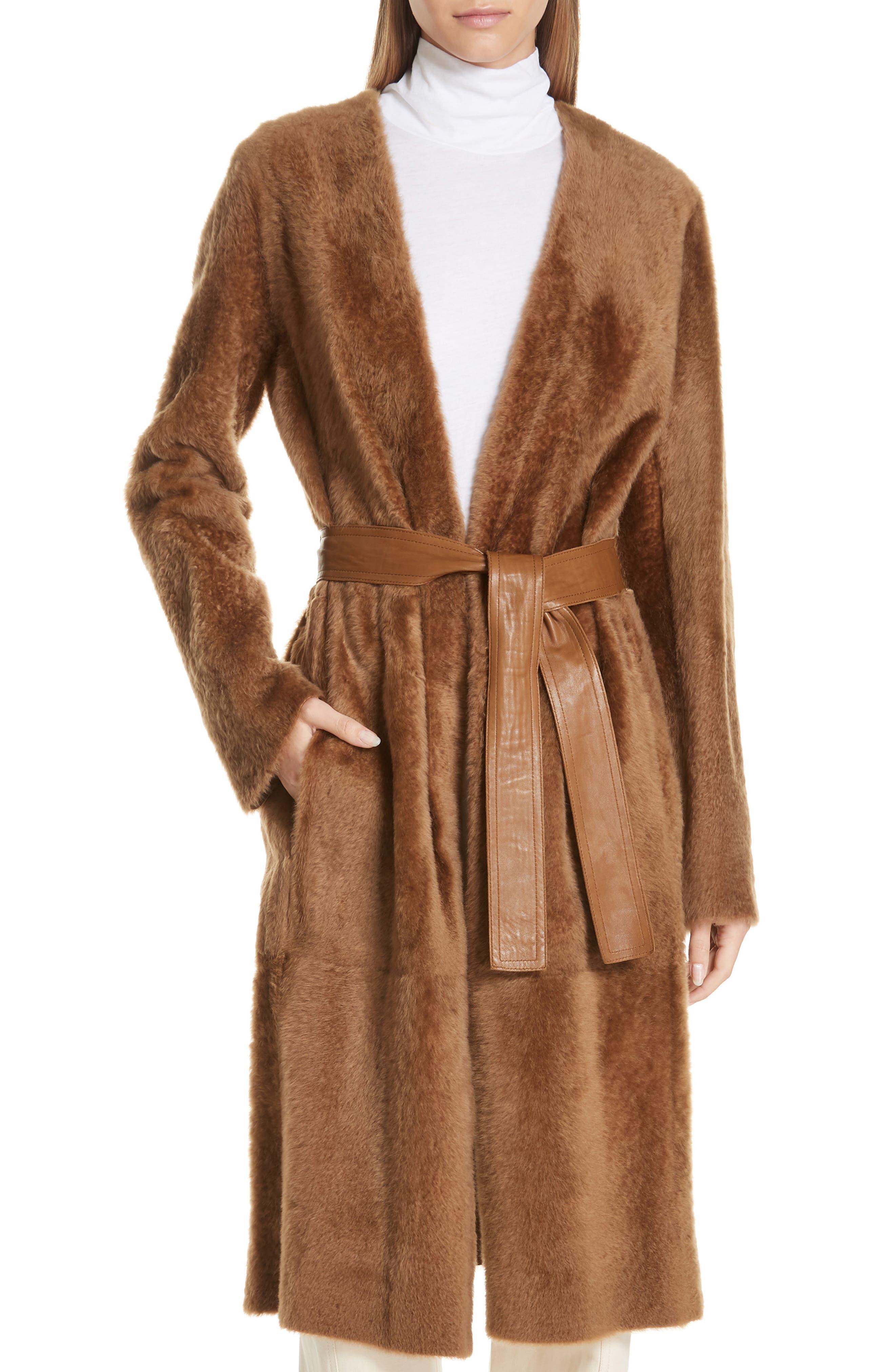 Vince Genuine Shearling Coat, Brown