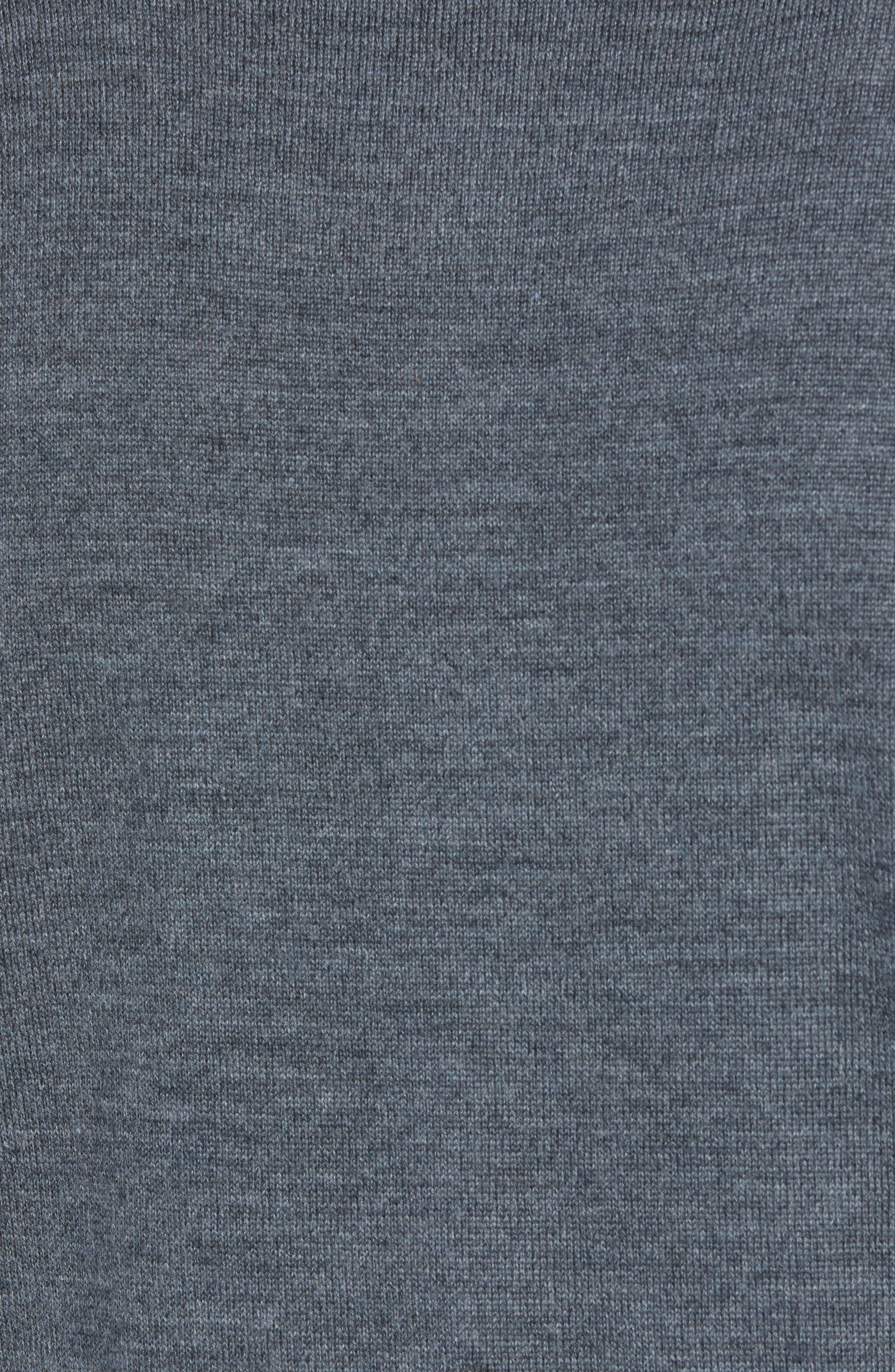 Slim Fit Long Sleeve Merino Wool Polo,                             Alternate thumbnail 5, color,                             HEATHER SLATE