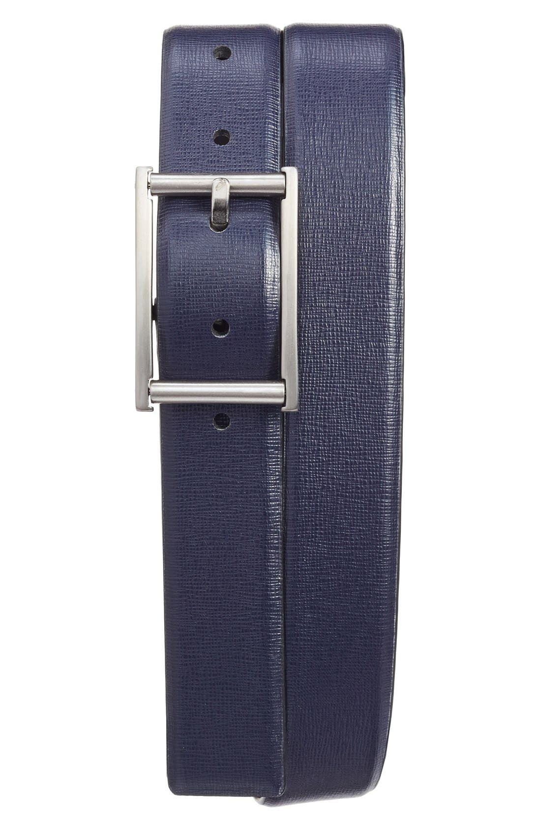 Leather Belt,                         Main,                         color, INK