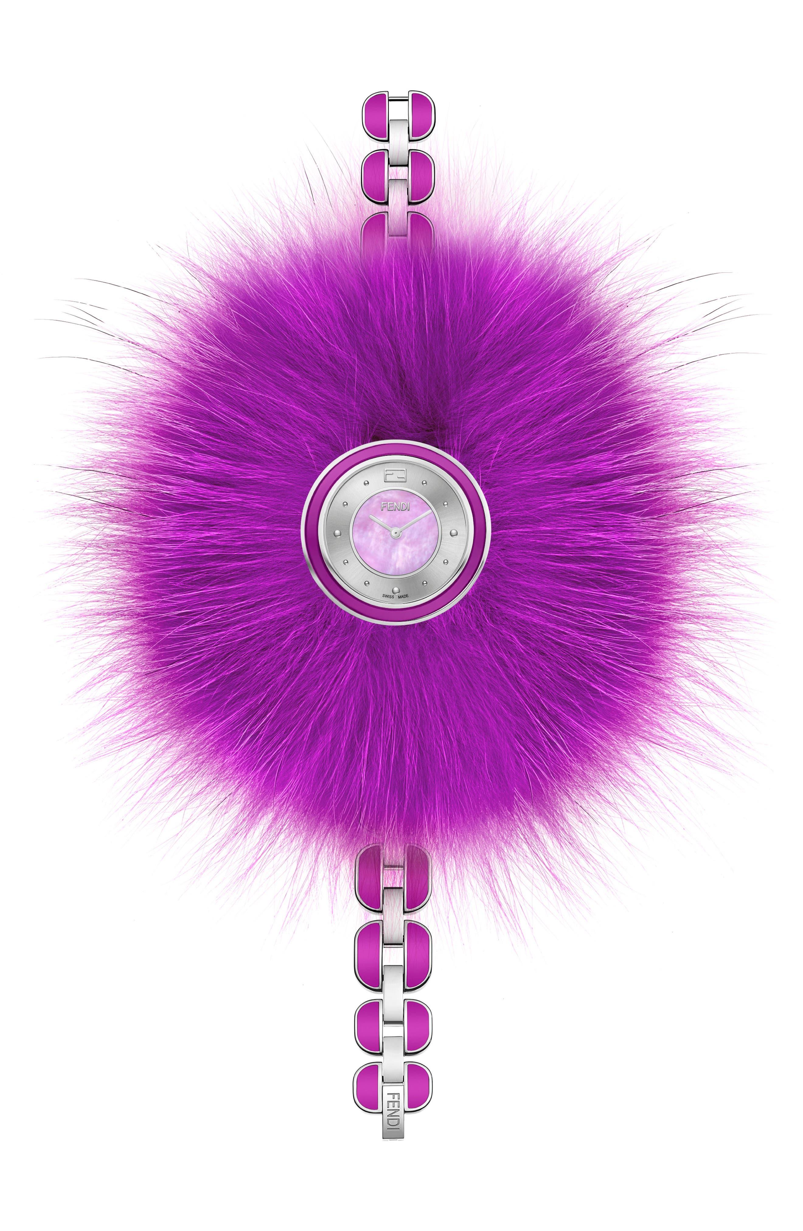 My Way Genuine Fox Fur Bracelet Watch, 36mm,                             Alternate thumbnail 2, color,                             SILVER/ MOP/ PURPLE