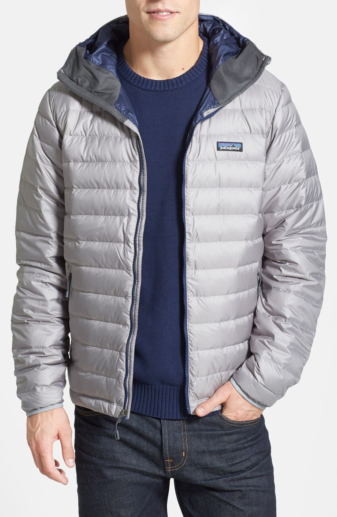 Packable Windproof & Water Resistant Goose Down Sweater Hooded Jacket,                             Main thumbnail 6, color,