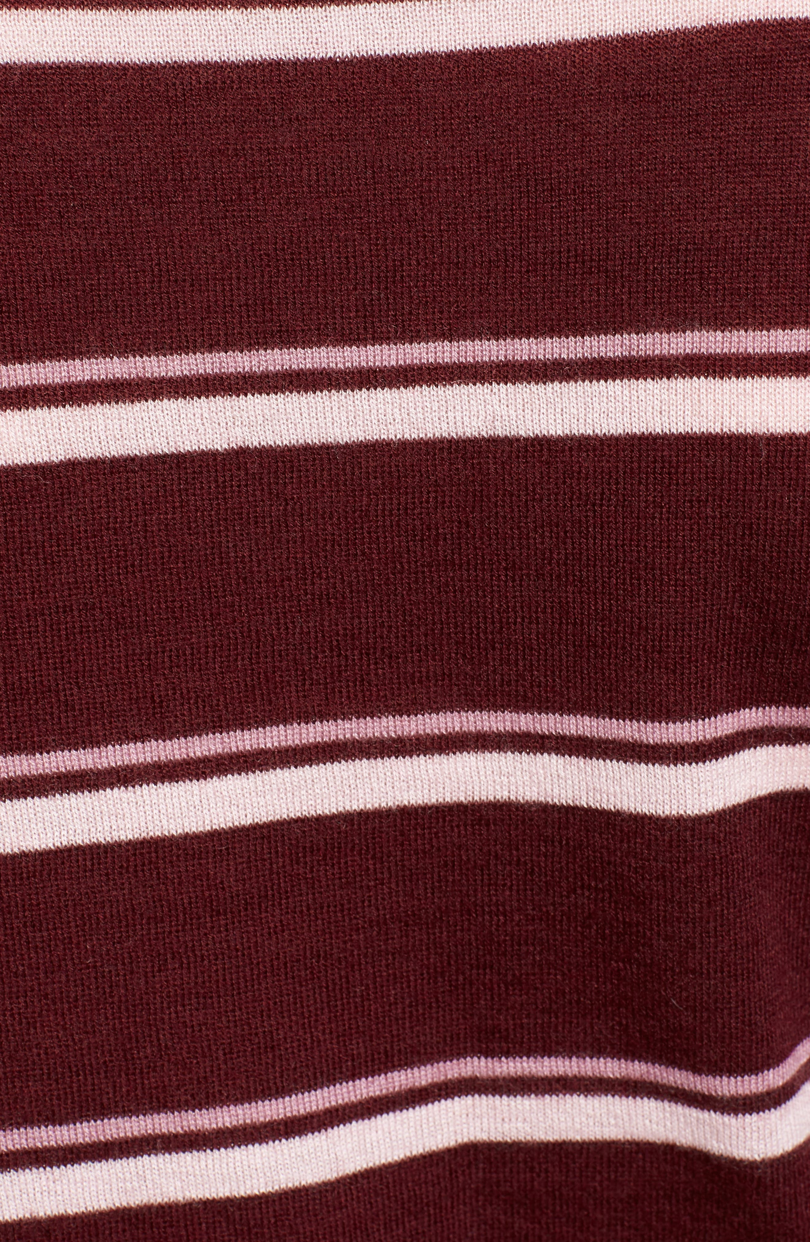 Stripe Cashmere Sweater,                             Alternate thumbnail 5, color,                             BURGUNDY STEP STRIPE