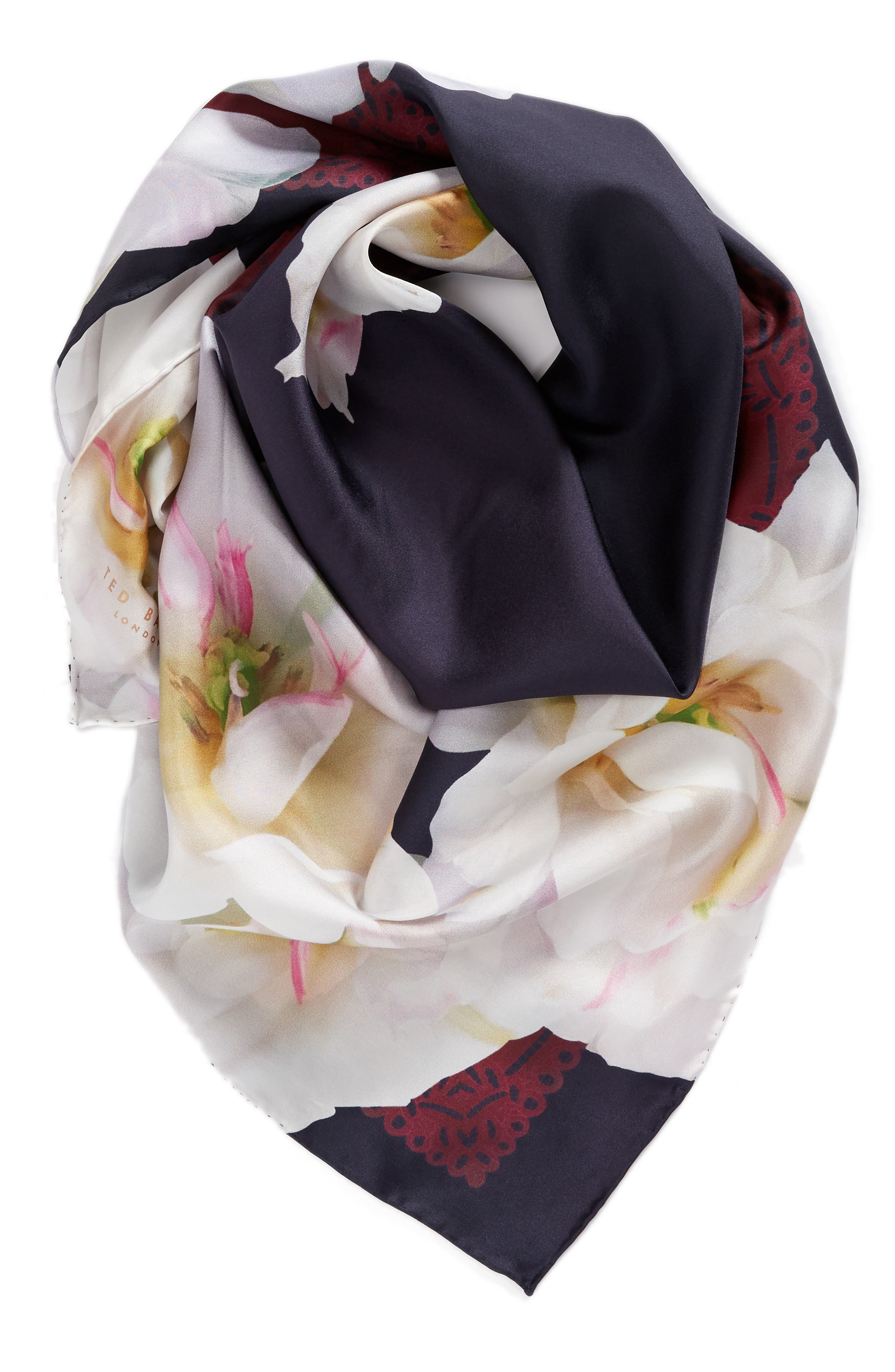 Gardenia Square Silk Scarf,                             Alternate thumbnail 2, color,                             110