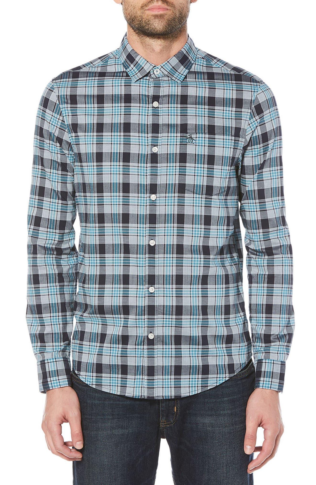 Stretch Plaid Button-Down Shirt,                             Main thumbnail 1, color,