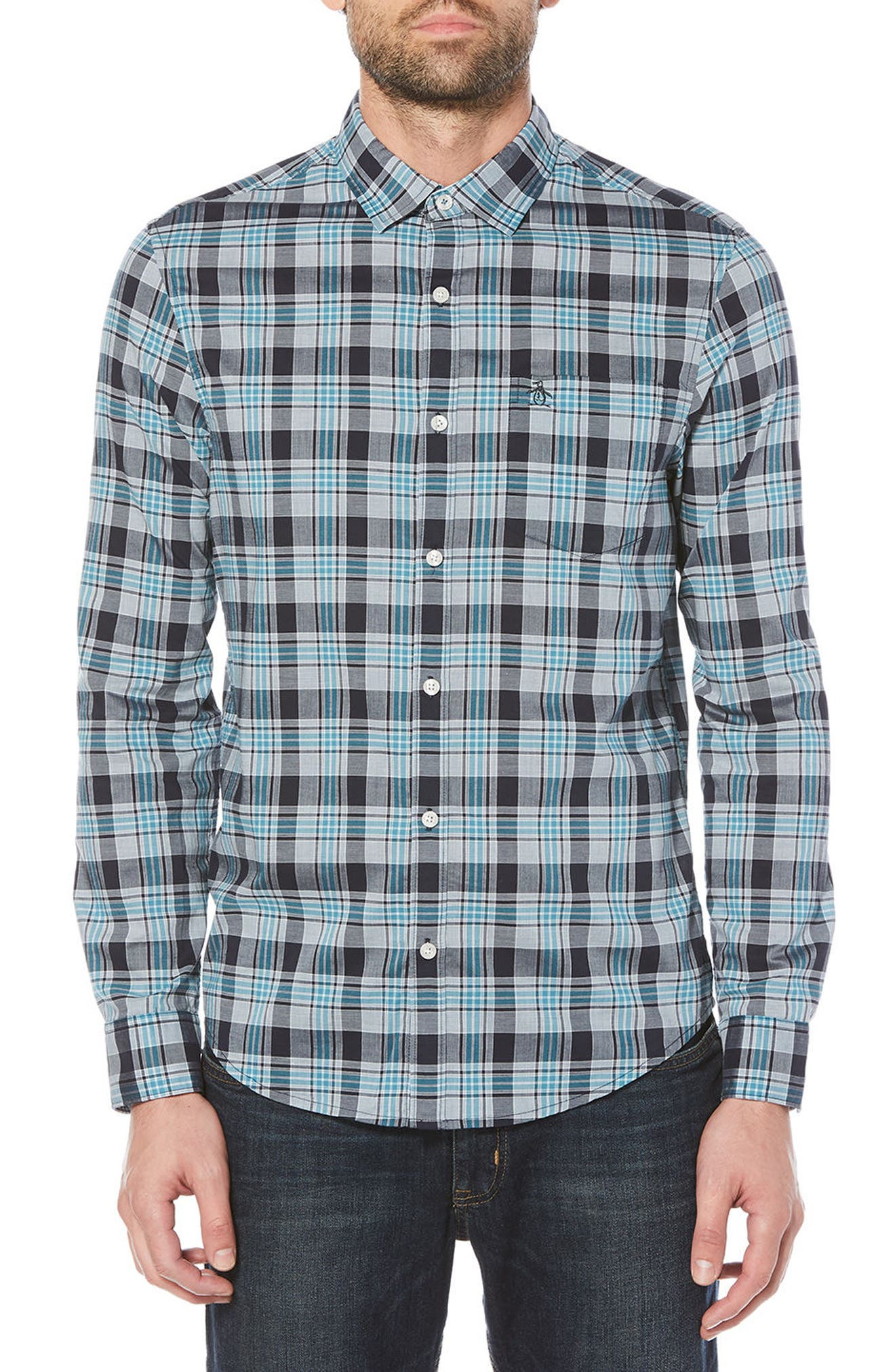 Stretch Plaid Button-Down Shirt,                         Main,                         color,
