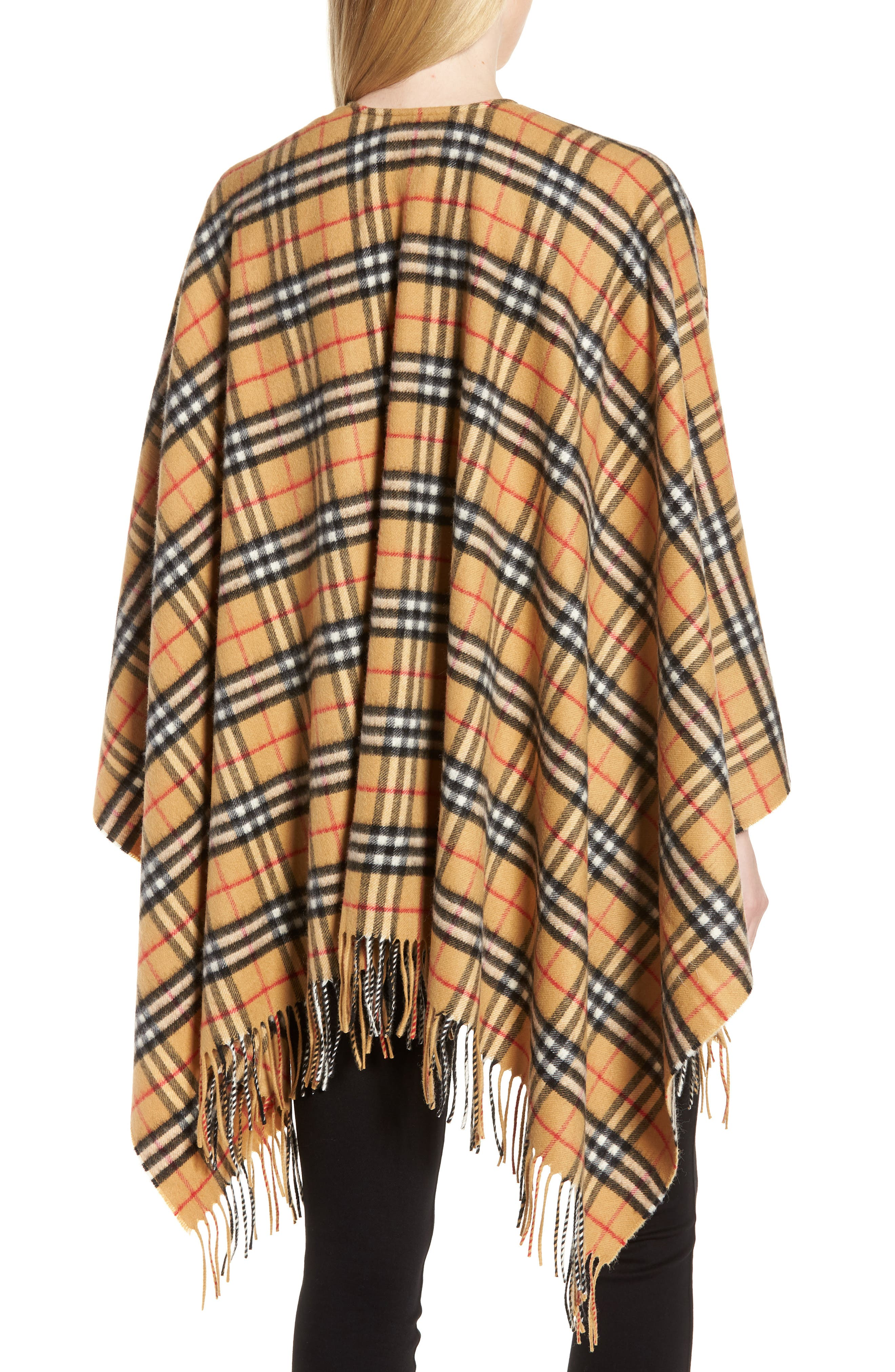 Vintage Check Cashmere & Wool Cape,                             Alternate thumbnail 2, color,                             ANTIQUE YELLOW