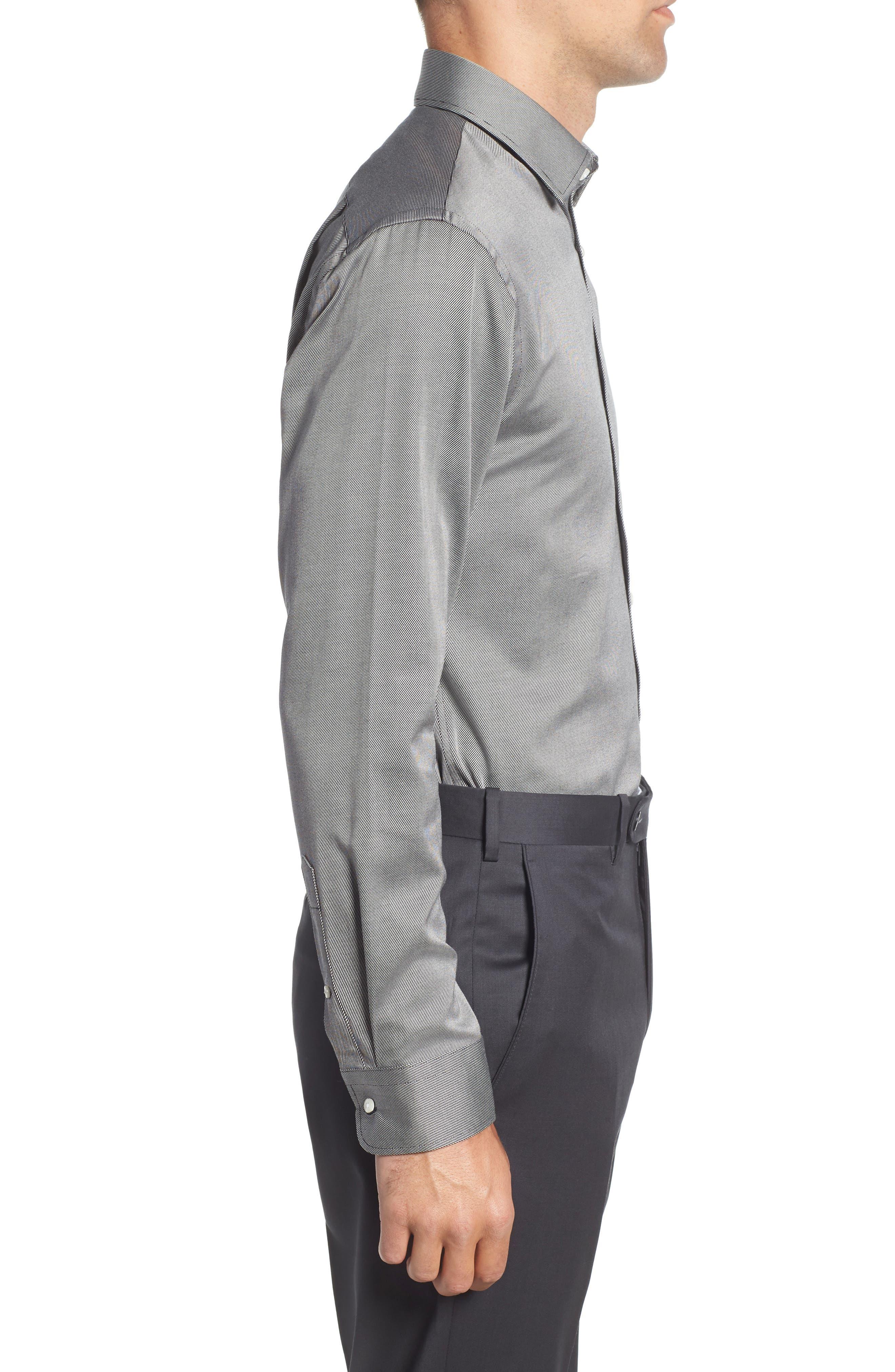Trim Fit Twill Dress Shirt,                             Alternate thumbnail 4, color,                             001