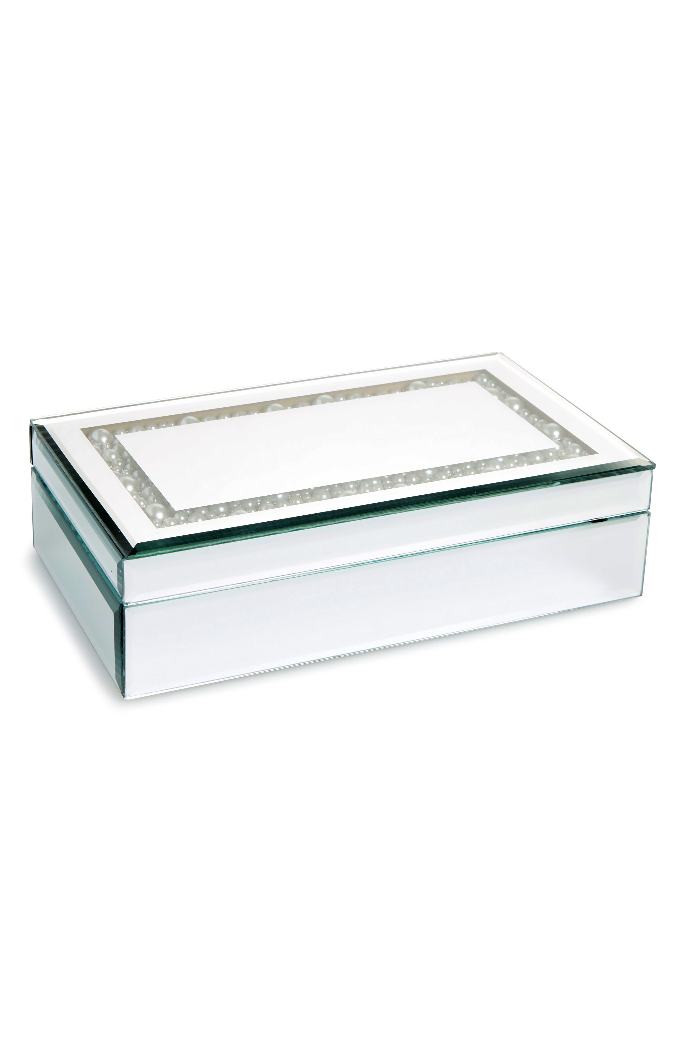 Imitation Pearl Mirror Jewelry Box