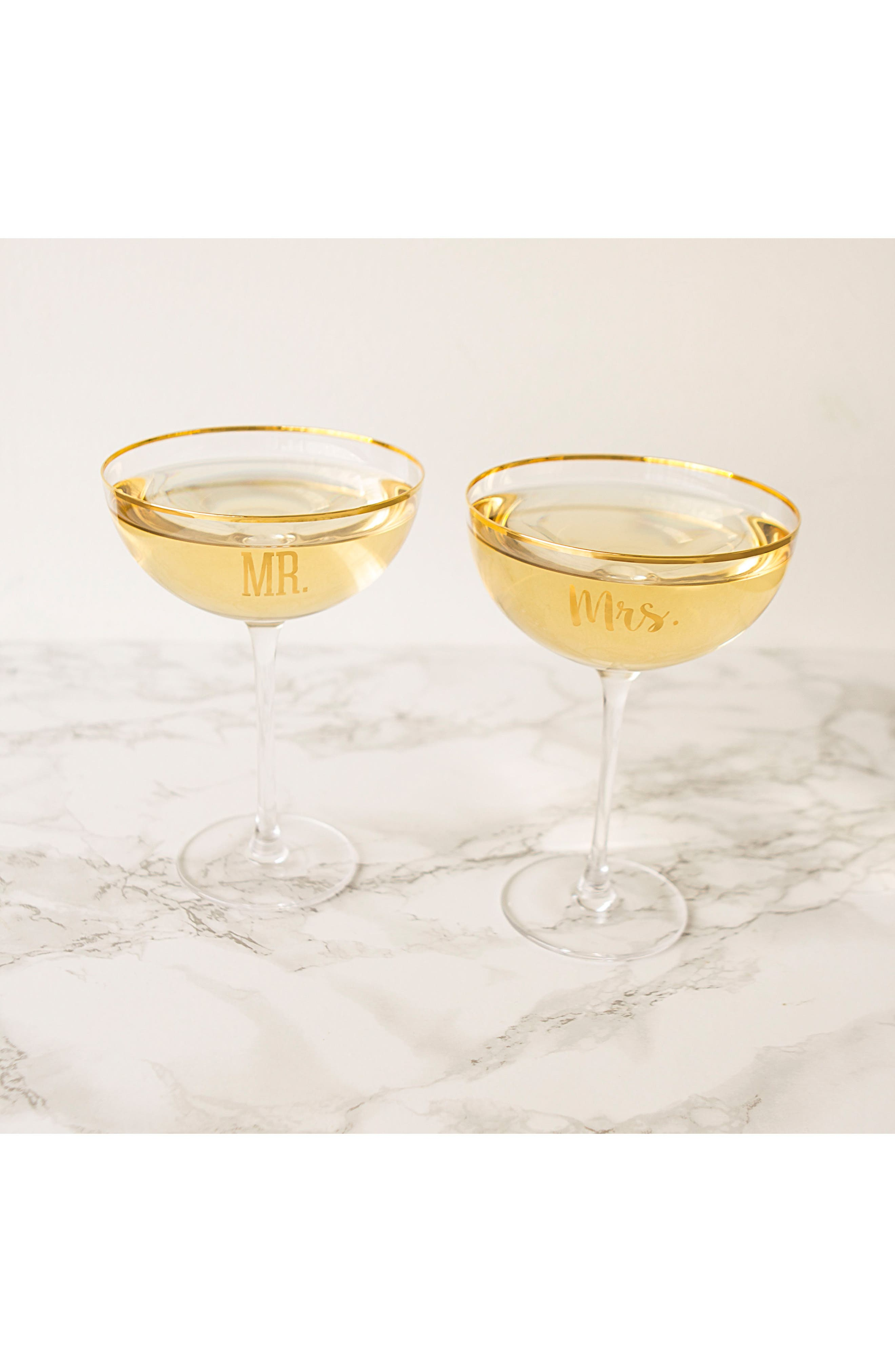 Mr. & Mrs. Set of 2 Champagne Coupe Toasting Glasses,                             Alternate thumbnail 5, color,                             710