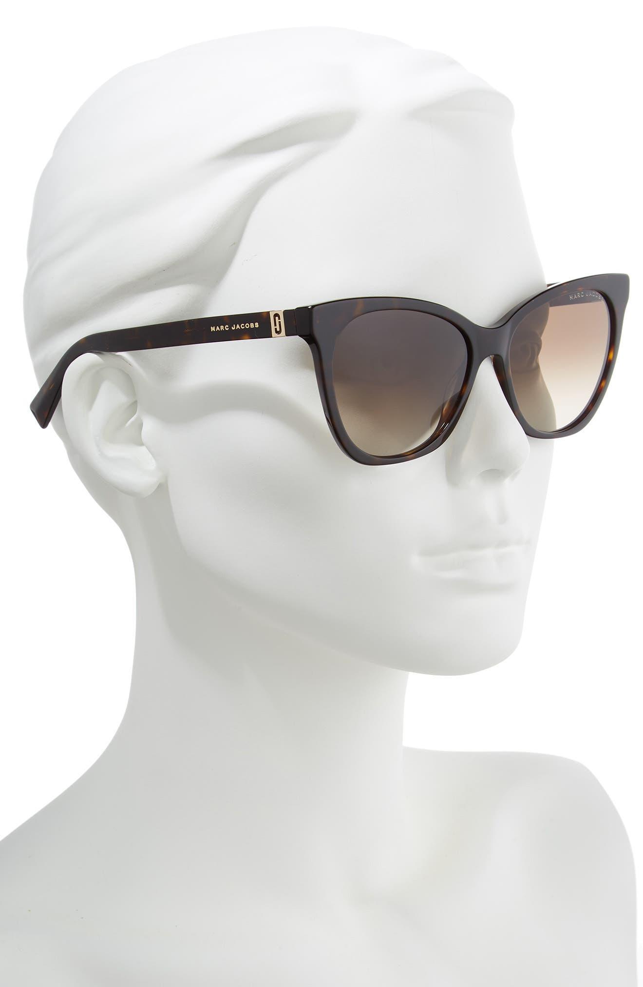 56mm Cat Eye Sunglasses,                             Alternate thumbnail 2, color,                             DARK HAVANA